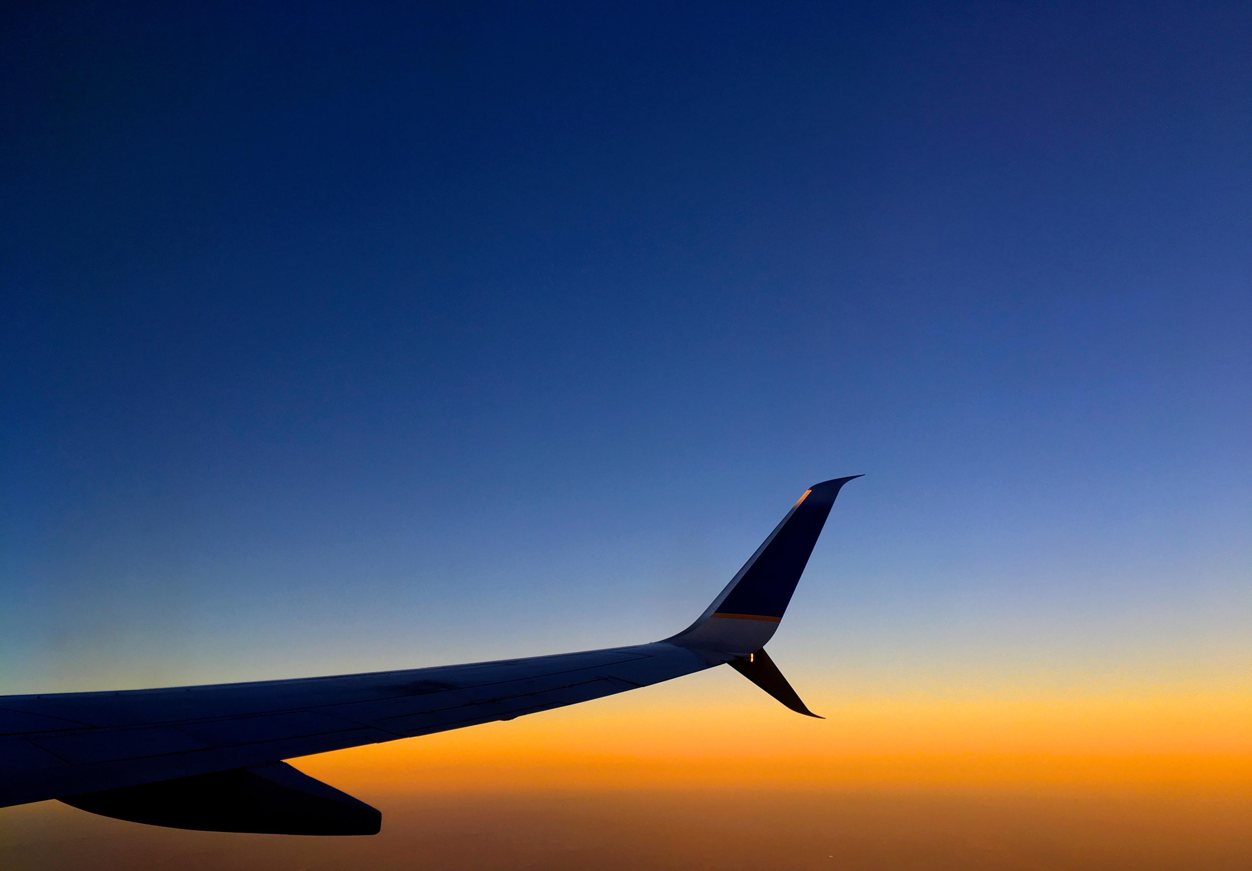 Gambar Horison Sayap Langit Matahari Terbenam Pesawat Terbang