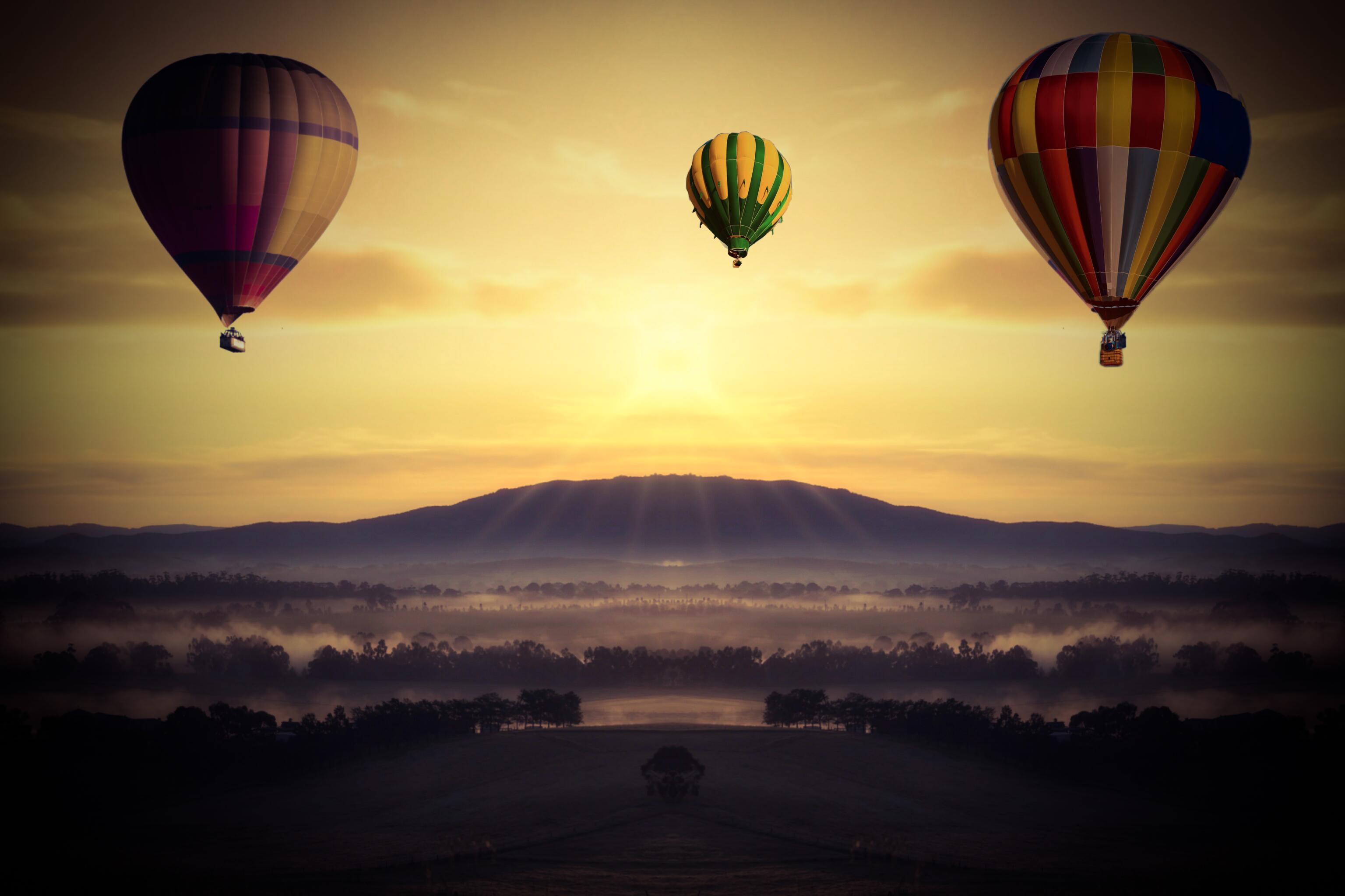 Обои Облака, Пейзаж, воздушный шар. Авиация foto 13