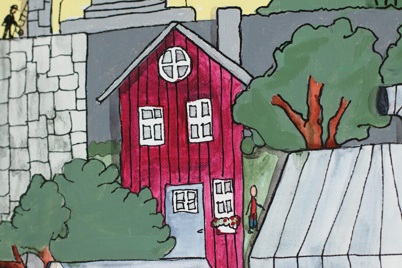 Gambar Rumah Kota Warna Piring Coretan Cat Air Seni Jalanan
