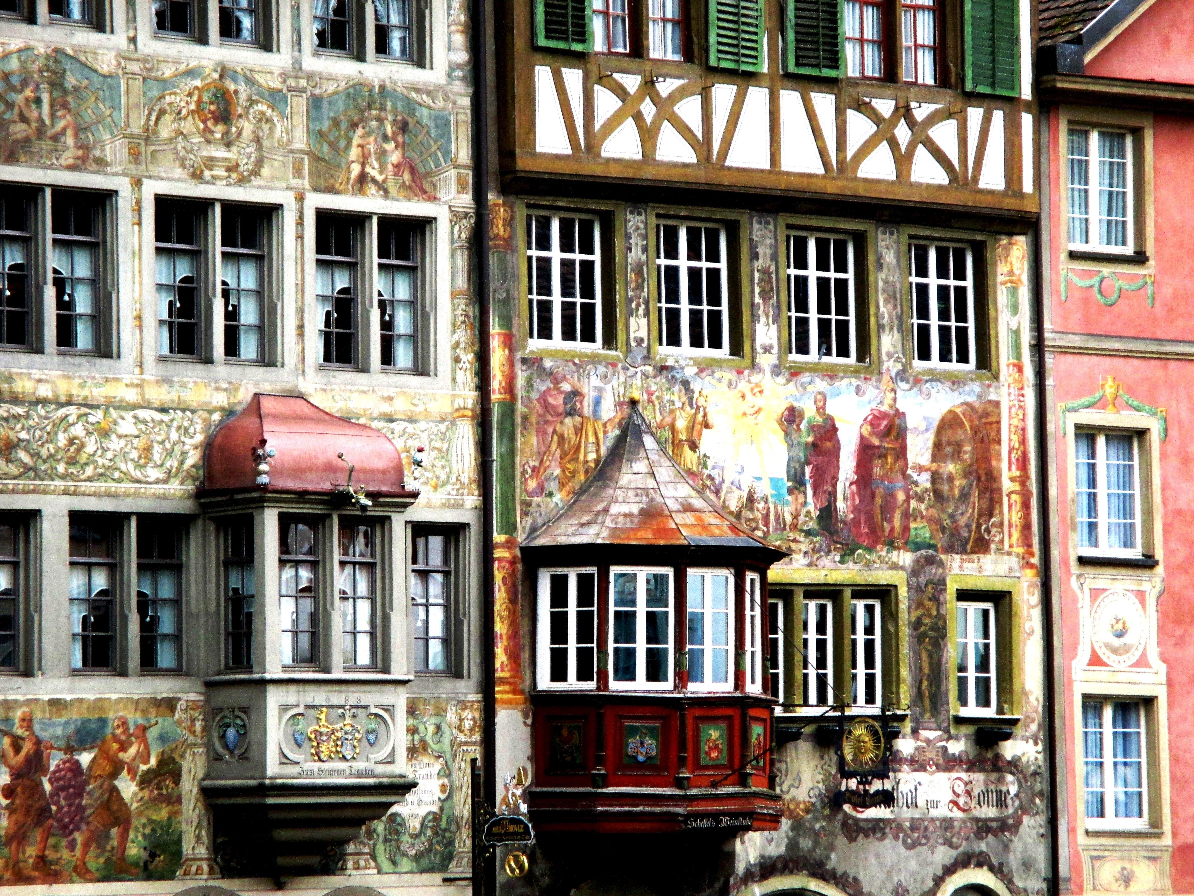 images gratuites maison restaurant fa ade art maisons suisse schaffhausen fen tre en. Black Bedroom Furniture Sets. Home Design Ideas