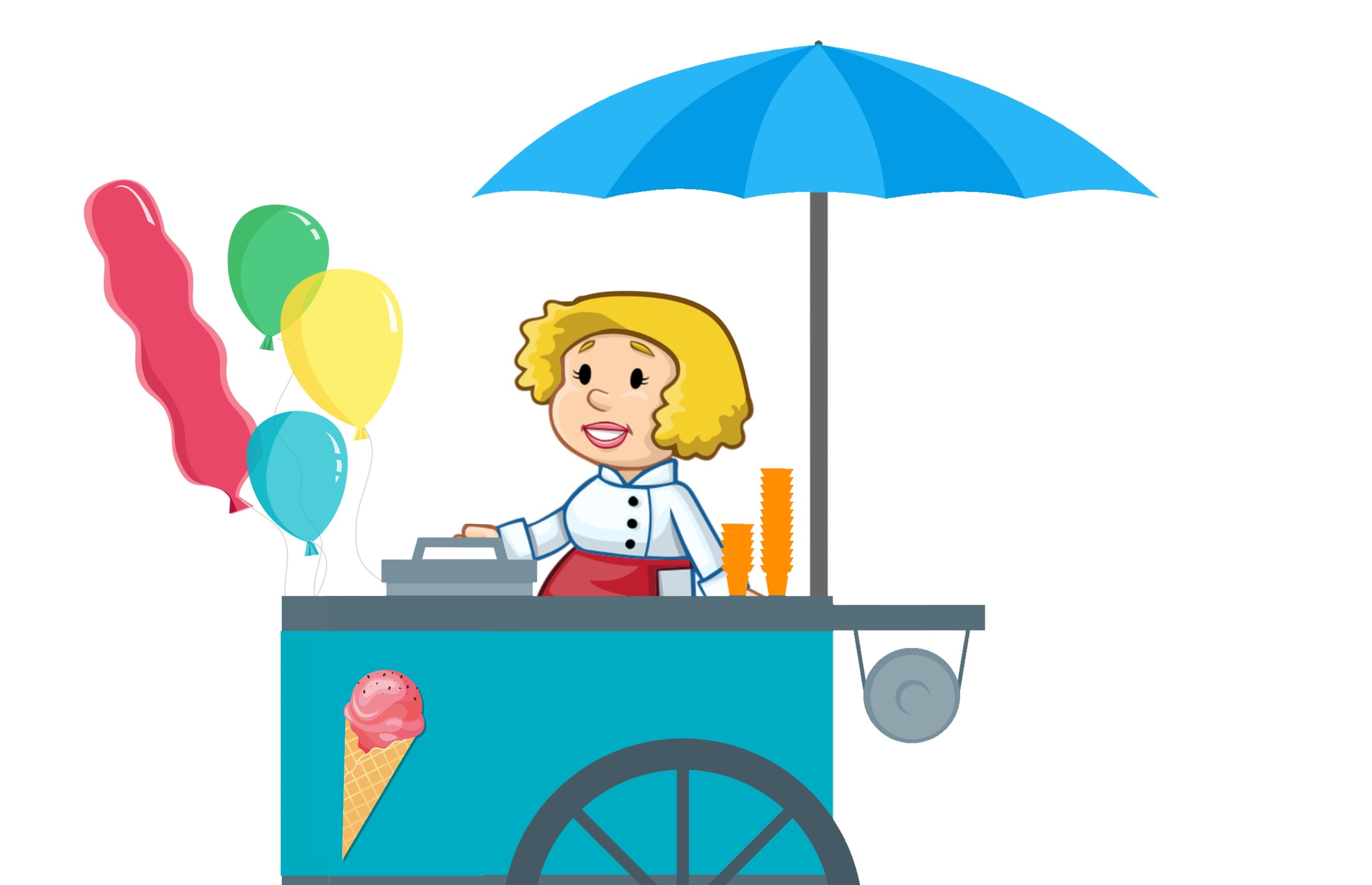 Gambar Es Krim Gerobak Wanita Kafe Lezat Fun Ice Kios Pasar Outdoor Penjual Penjualan Berdiri Jalan Musim Panas Meja Troli Mobil Van Vanila Kereta Balon Gambar Kartun Pirus Clip Art Ilustrasi