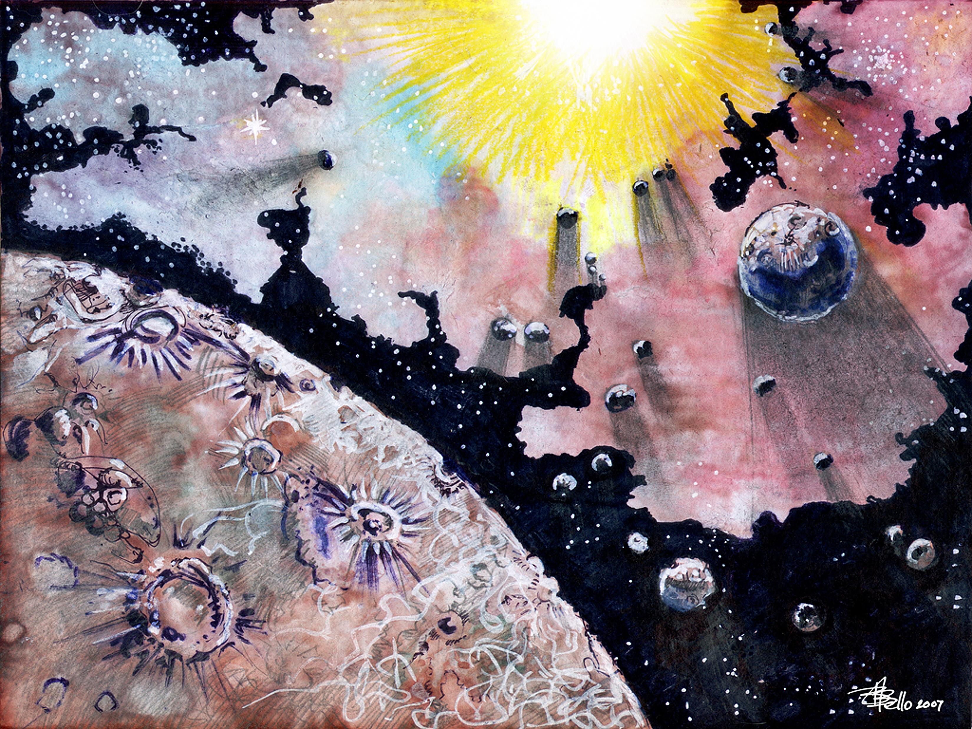 Gambar tinta pastel gambar sketsa karya seni ilustrasi pena digital stylus ruang kosmos planit kapal angkasa alam semesta lukisan cat air