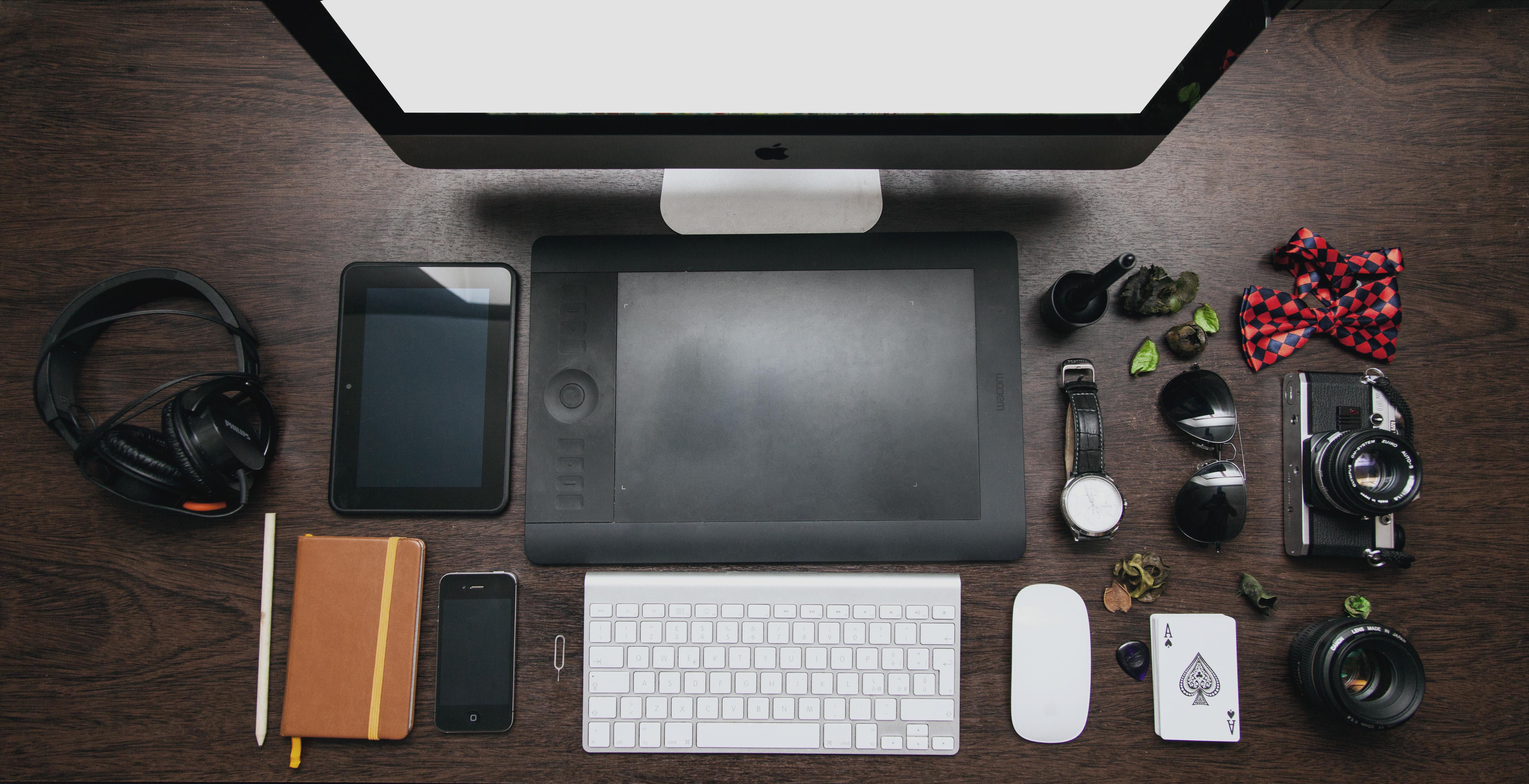Modernistisk Gratis billeder : iphone, skrivebord, skærm, æble, tastatur MF-15