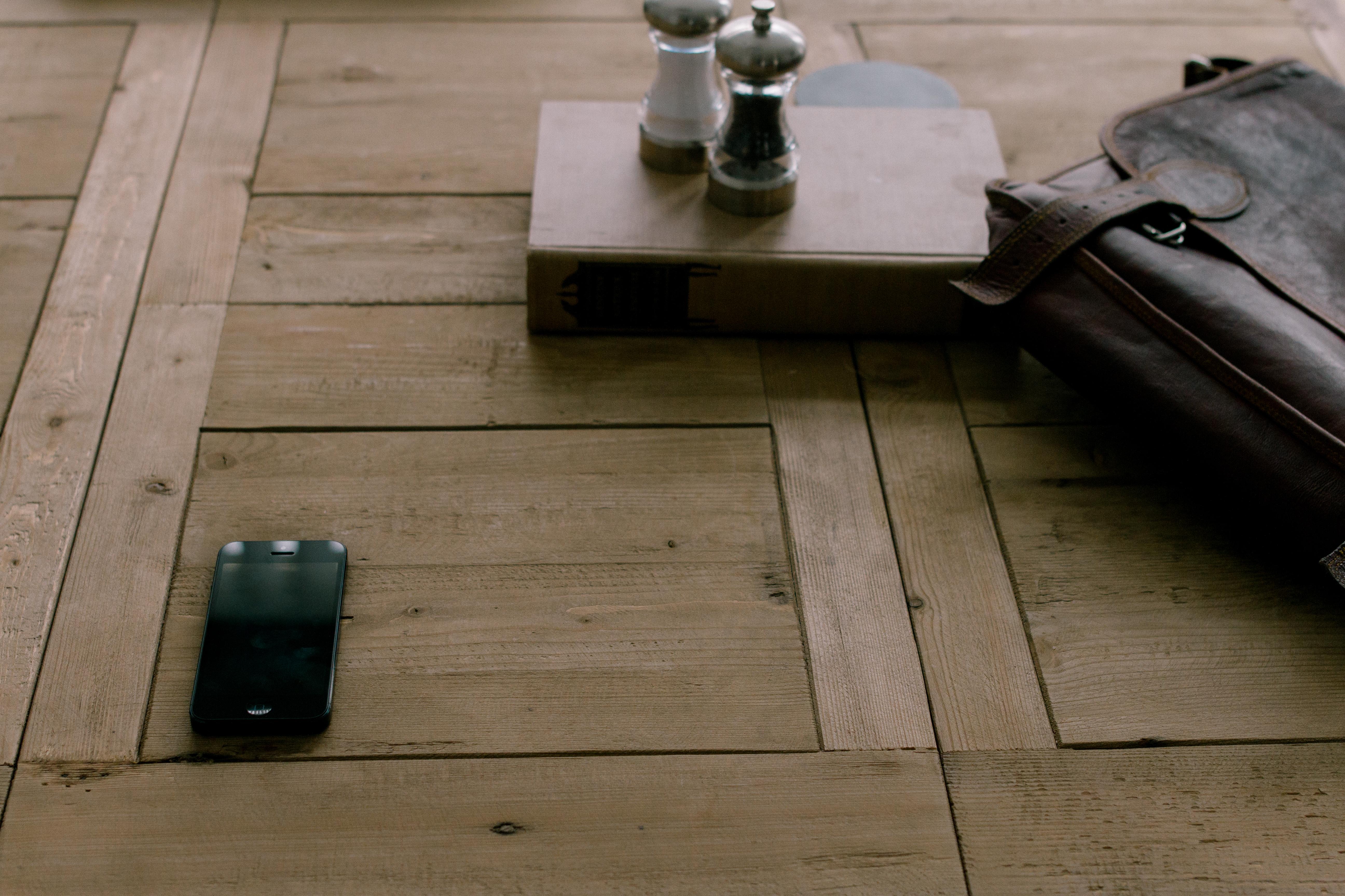 Iphone Table Book Wood Floor Pattern Phone Tile Furniture Publicdomain Background Stilllife Hardwood Satchel Saltandpeppershakers Brownsatchel