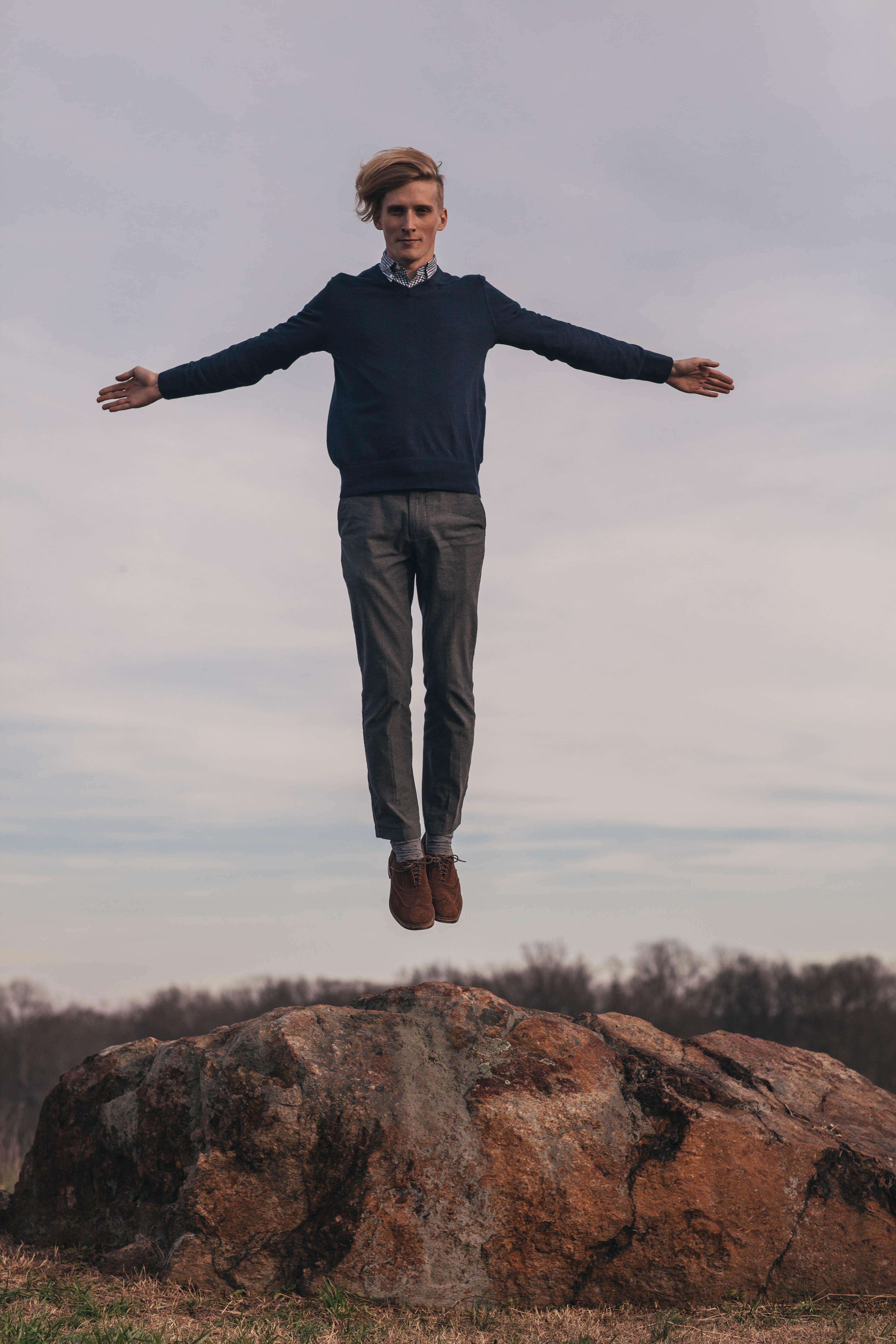 Free Images : jump, levitate, man, model, rock 3744x5616 ...