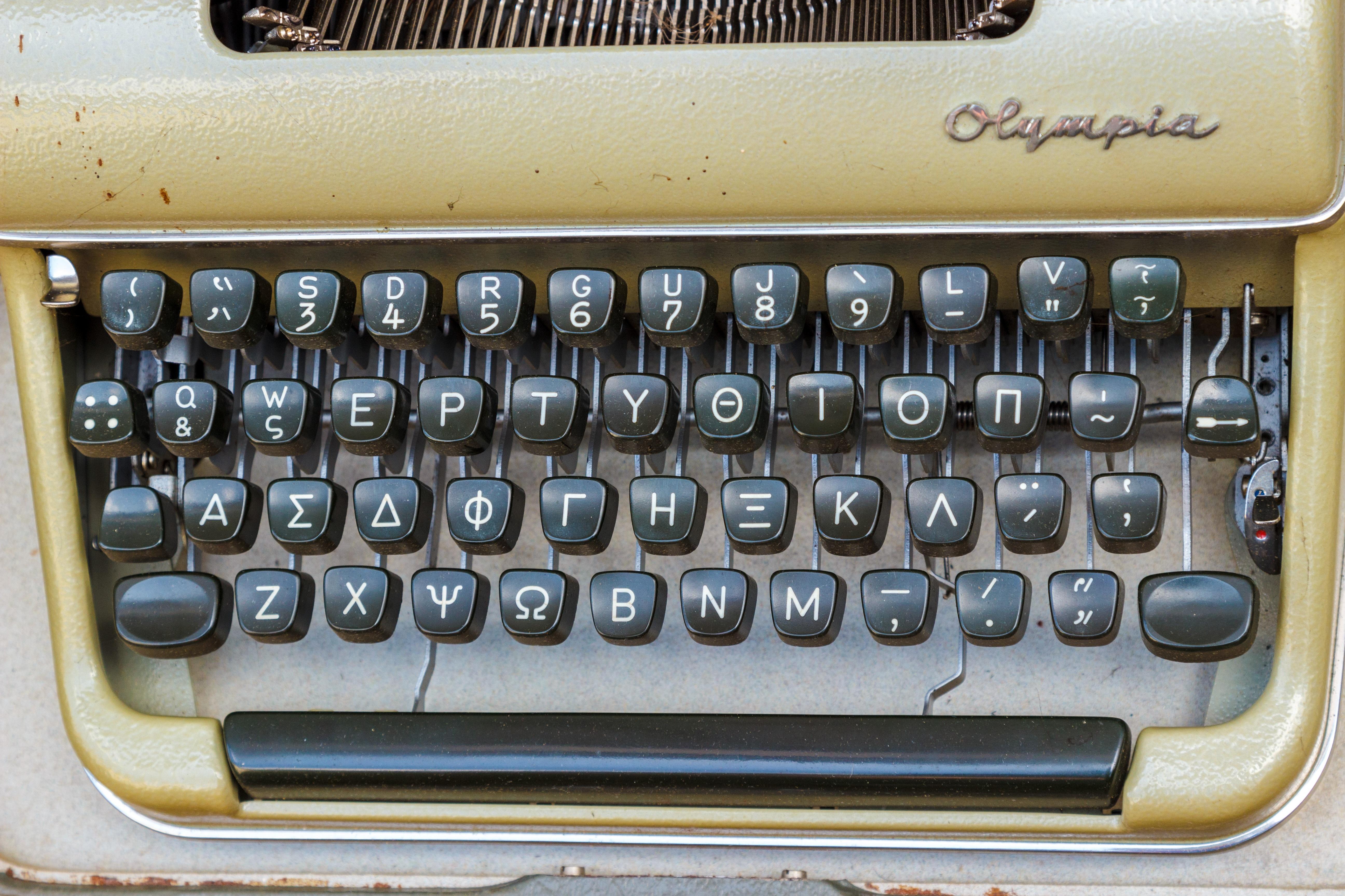 Keyboard Vintage Retro Old Typewriter Greek Metal Office Keys Letters Flea  Market Mechanically Office Supplies Automotive
