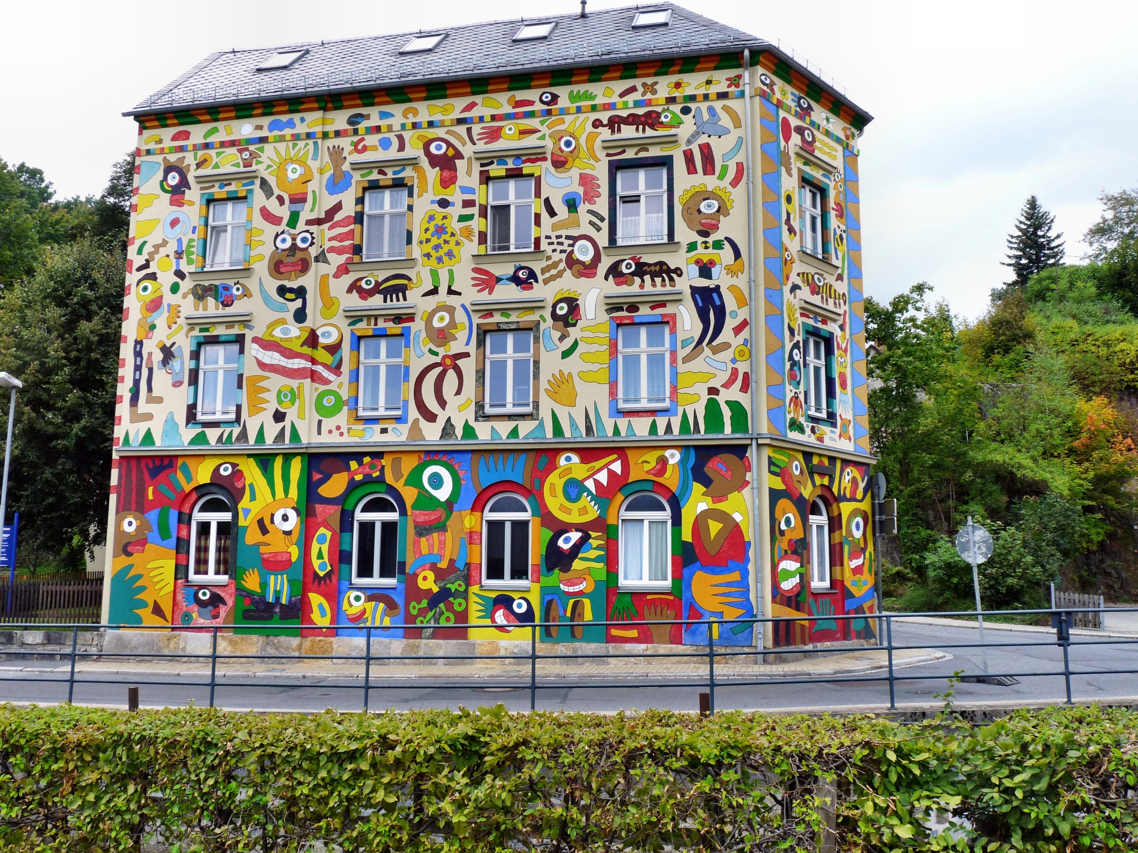 Wahrzeichen Fassade Malerei Kunst Wandgemälde Craffiti Haus Fischer Art In  Sebnitz Künstler Michael Fischer