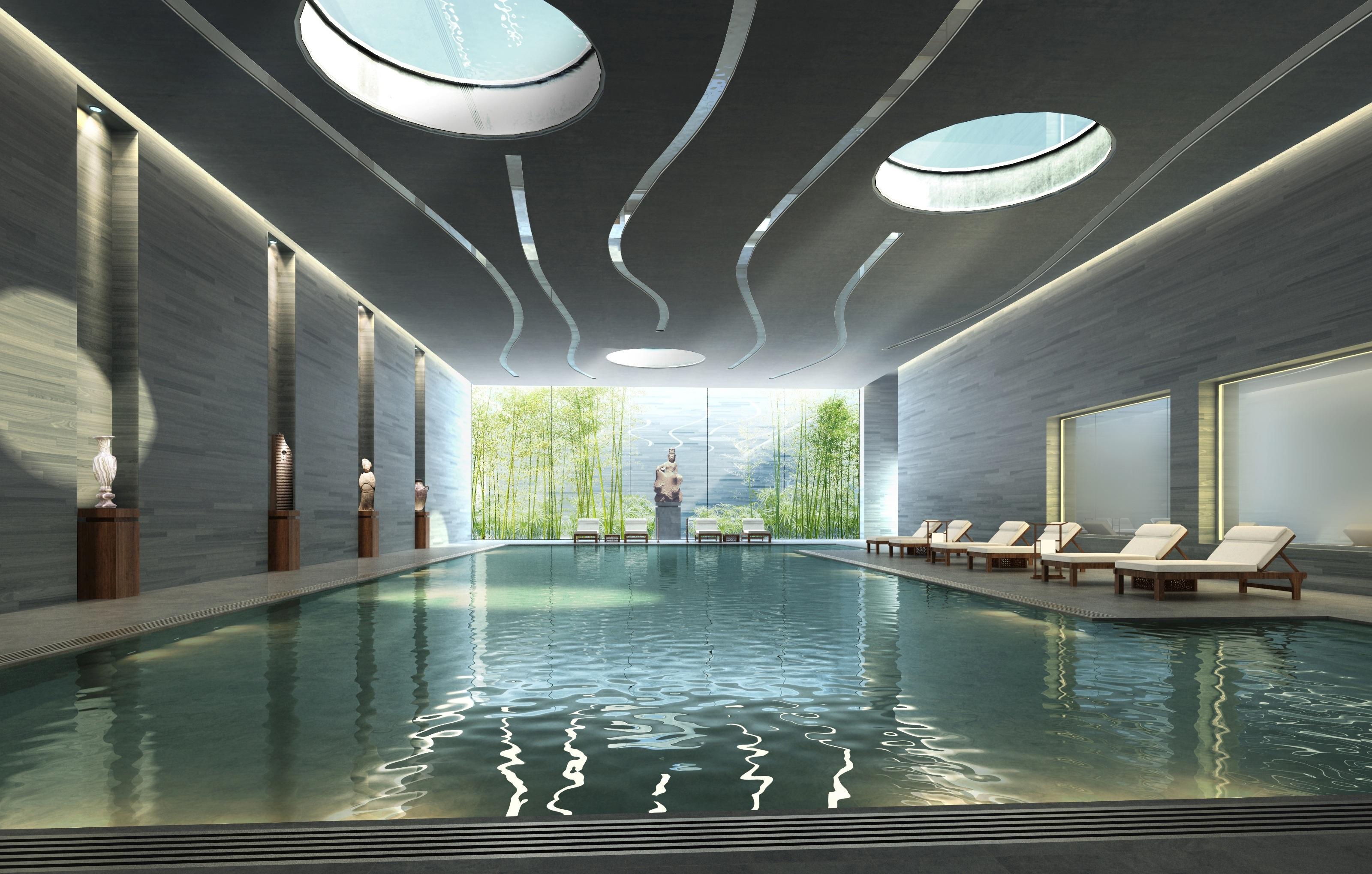 Superb Landscape Architecture Mansion Interior Building Swimming Pool Lighting  Interior Design Estate Visualization Cgi Rendering Visualization 3d