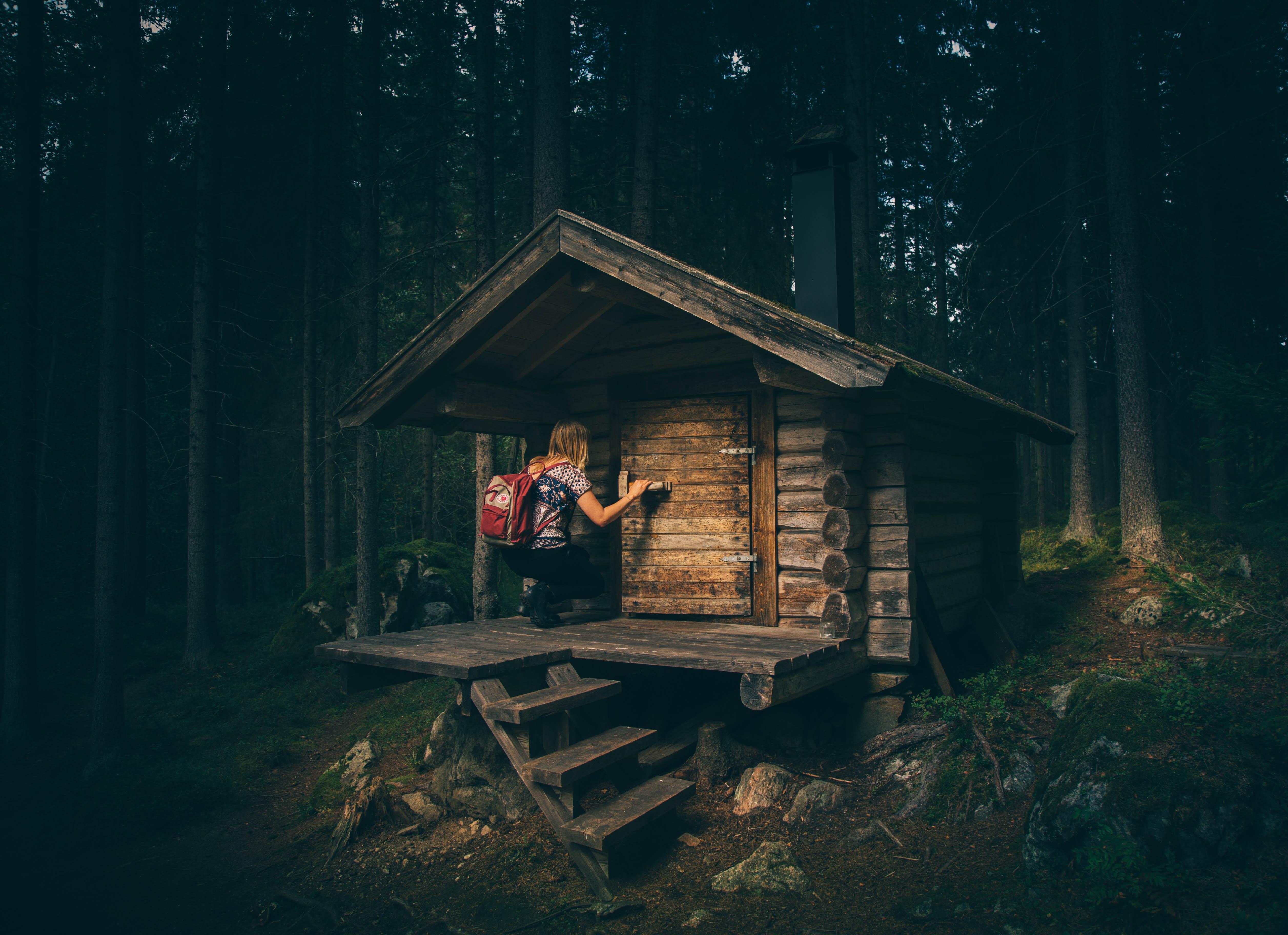 Landscape Forest Person Light Woman Night House Sunlight Travel Hut Log Cabin Soil Darkness Rocks Woods