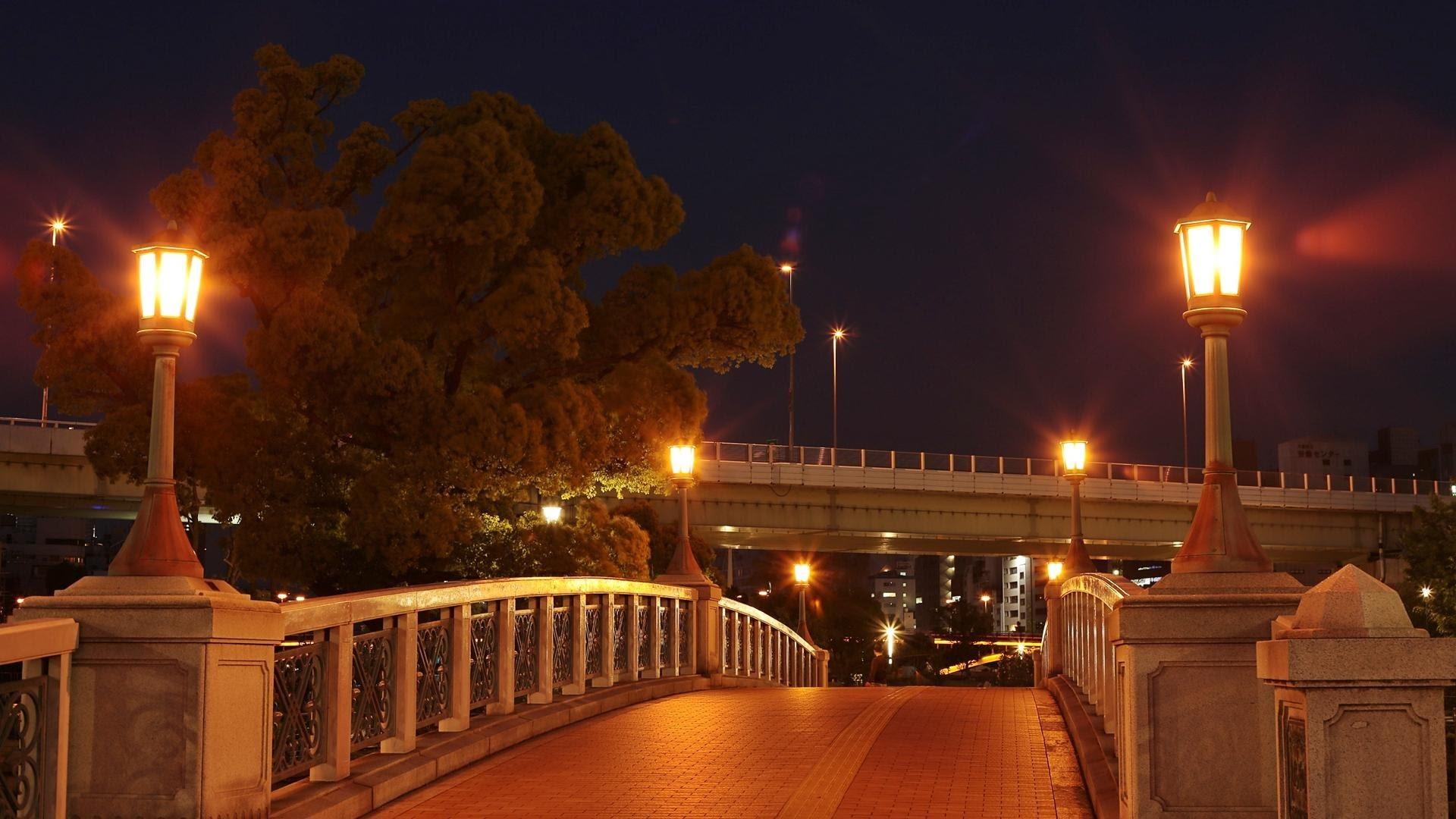Gambar Cahaya Jembatan Pemandangan Kota Pusat Kota Senja