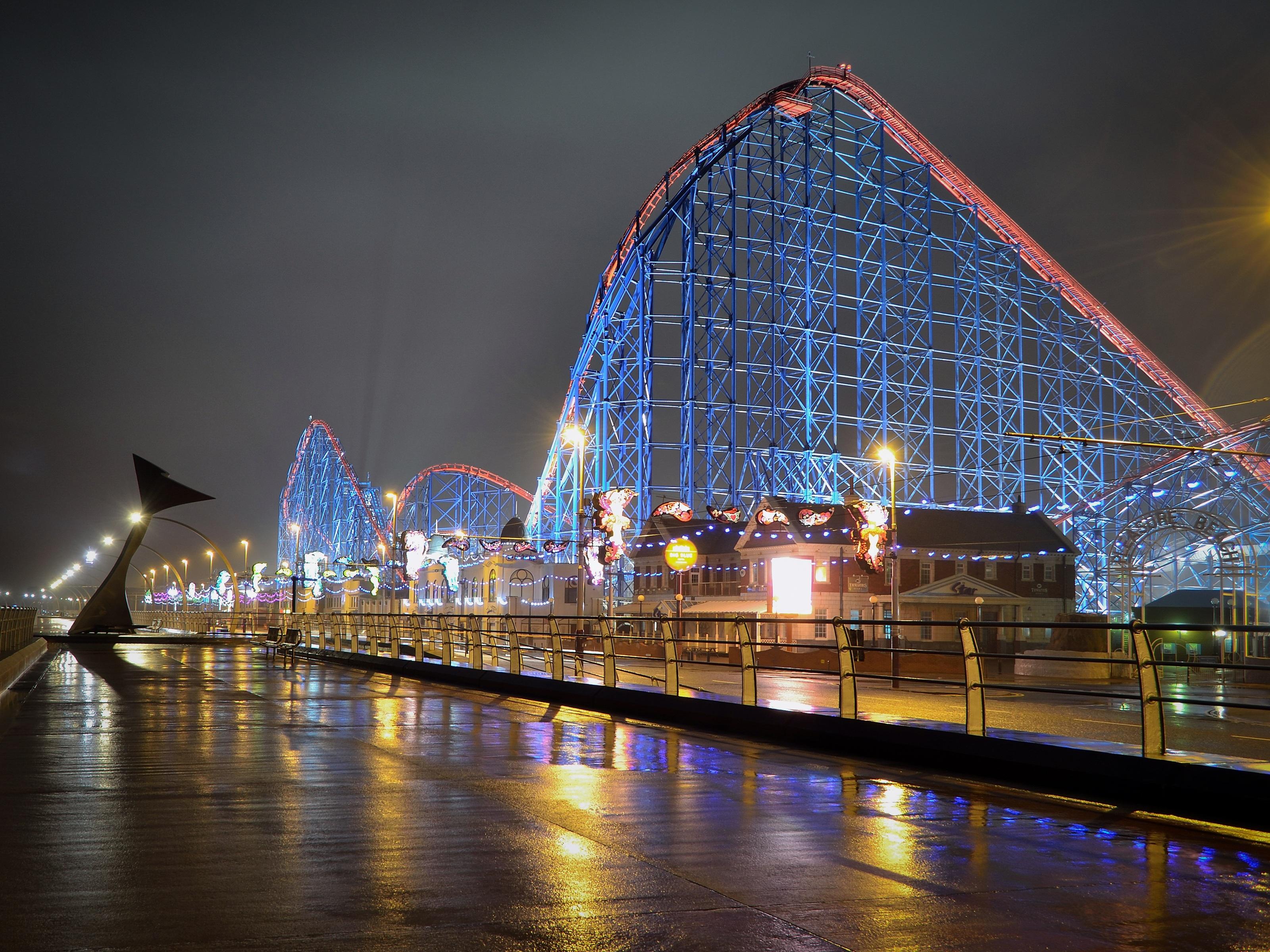 Обои Rollercoaster ride, ночь. Города foto 14