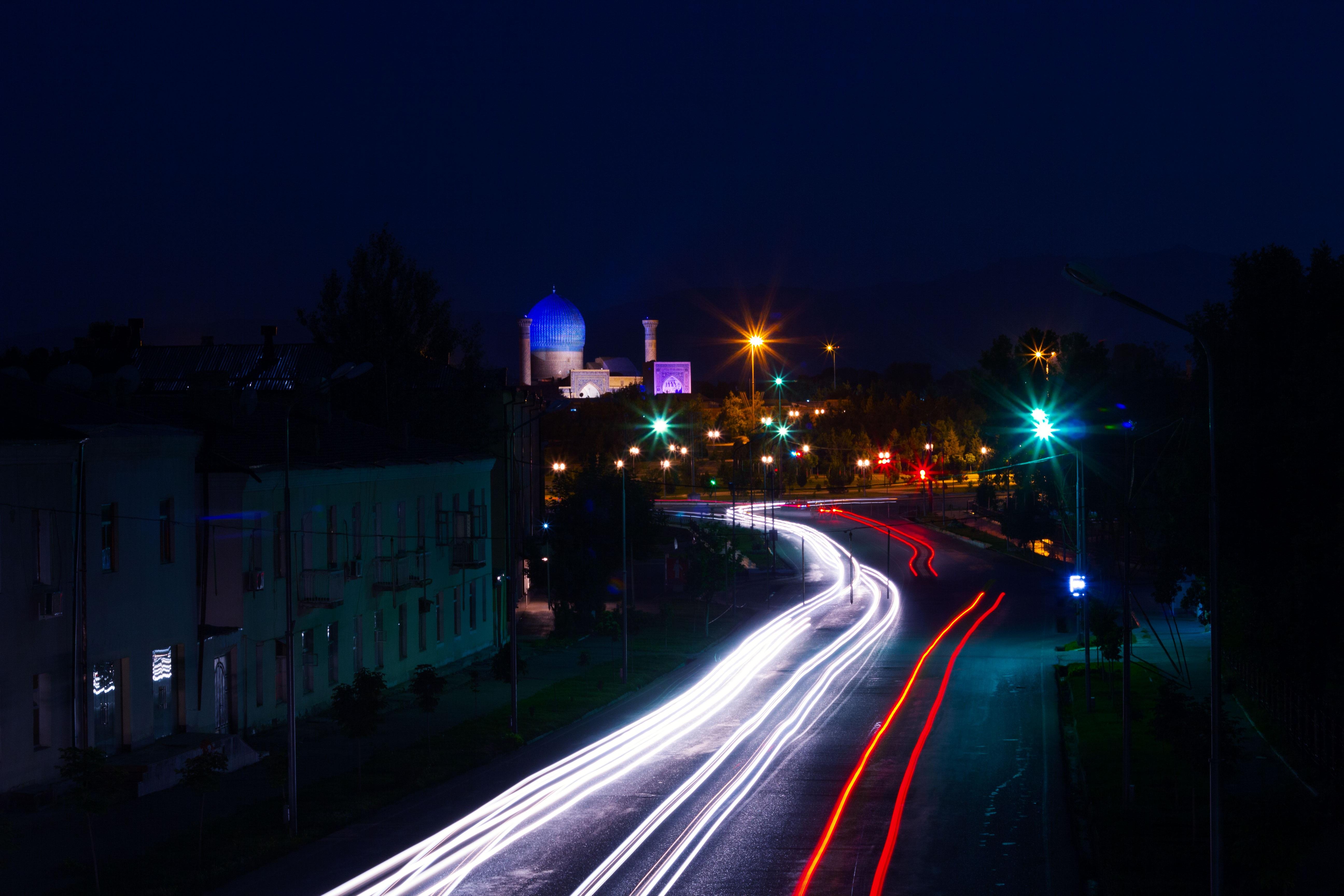 Gambar Cahaya Pemandangan Kota Liburan Senja Mengangkut