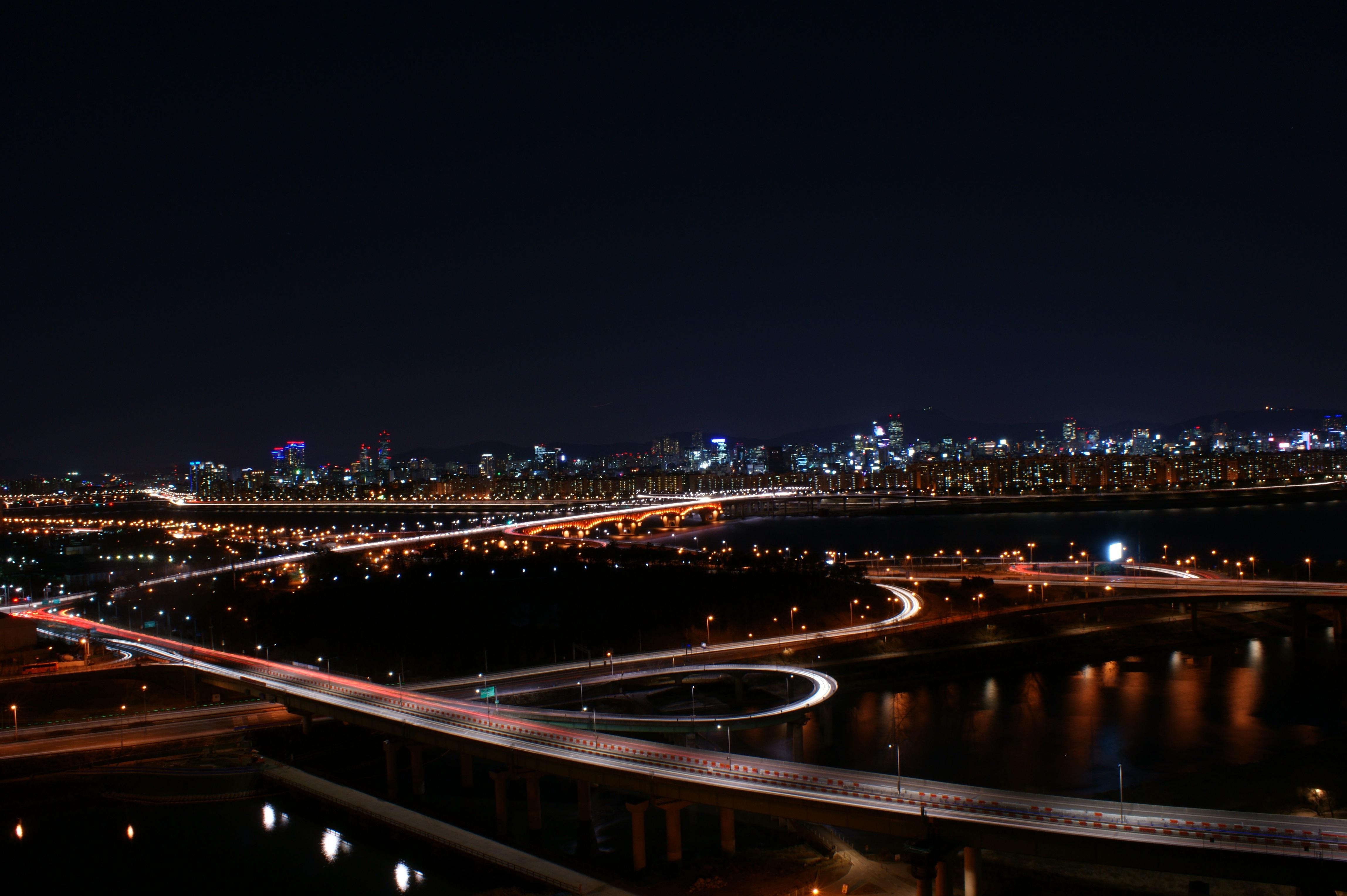 Free Images Light Structure Road Bridge Skyline Car City
