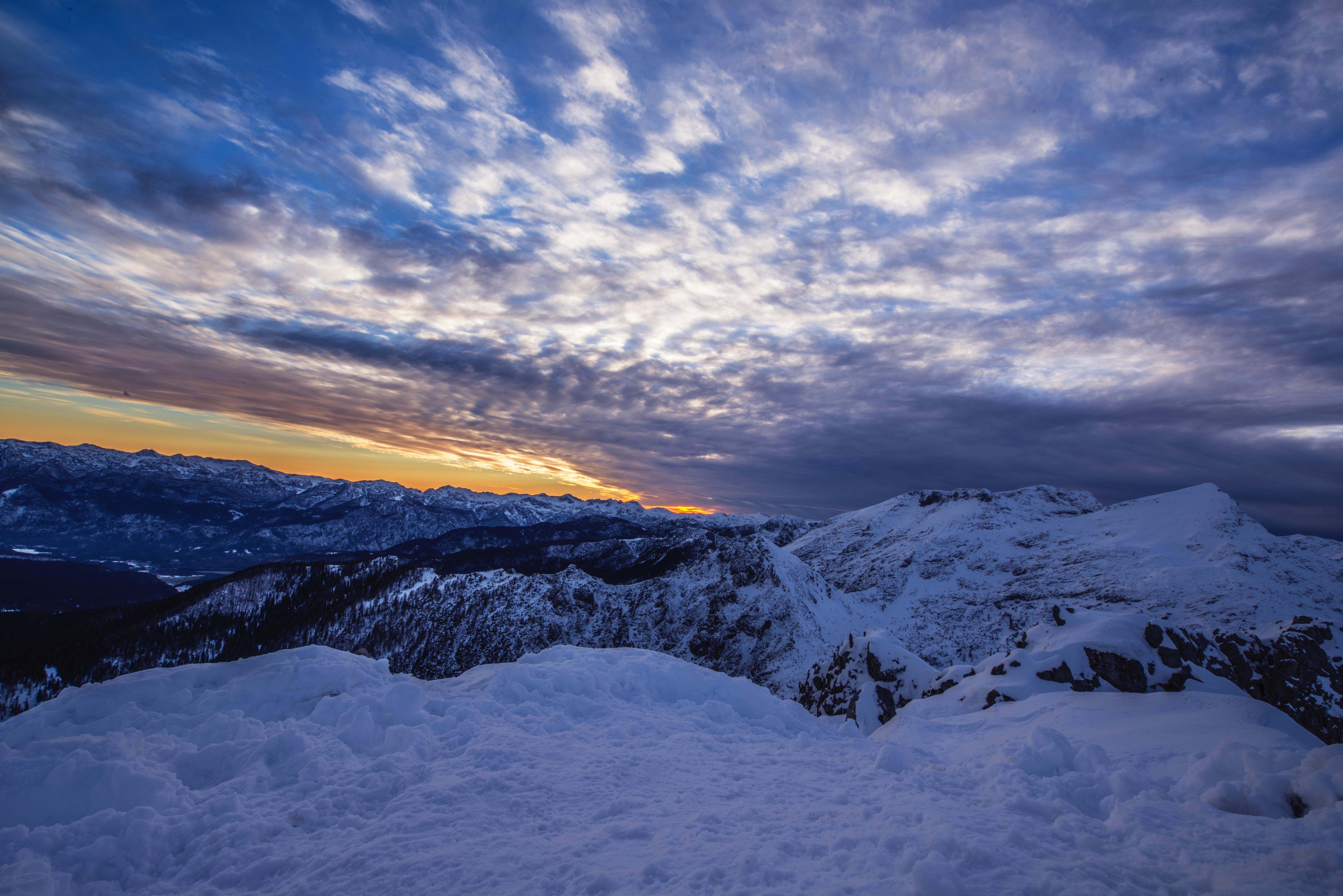 images gratuites paysage montagne neige hiver nuage ciel lever du soleil le coucher du. Black Bedroom Furniture Sets. Home Design Ideas