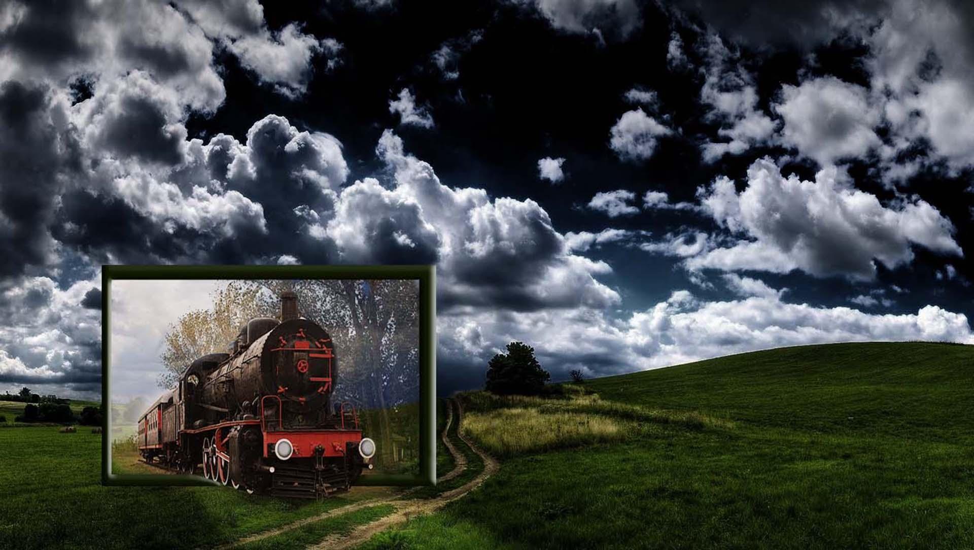 Fotoğraf Peyzaj Doğa çimen Bulut Gökyüzü Tren Hava çerçeve