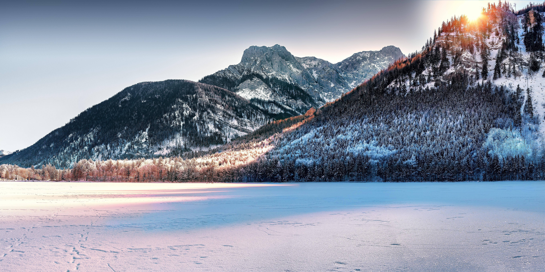 озеро гора снег  № 579240  скачать