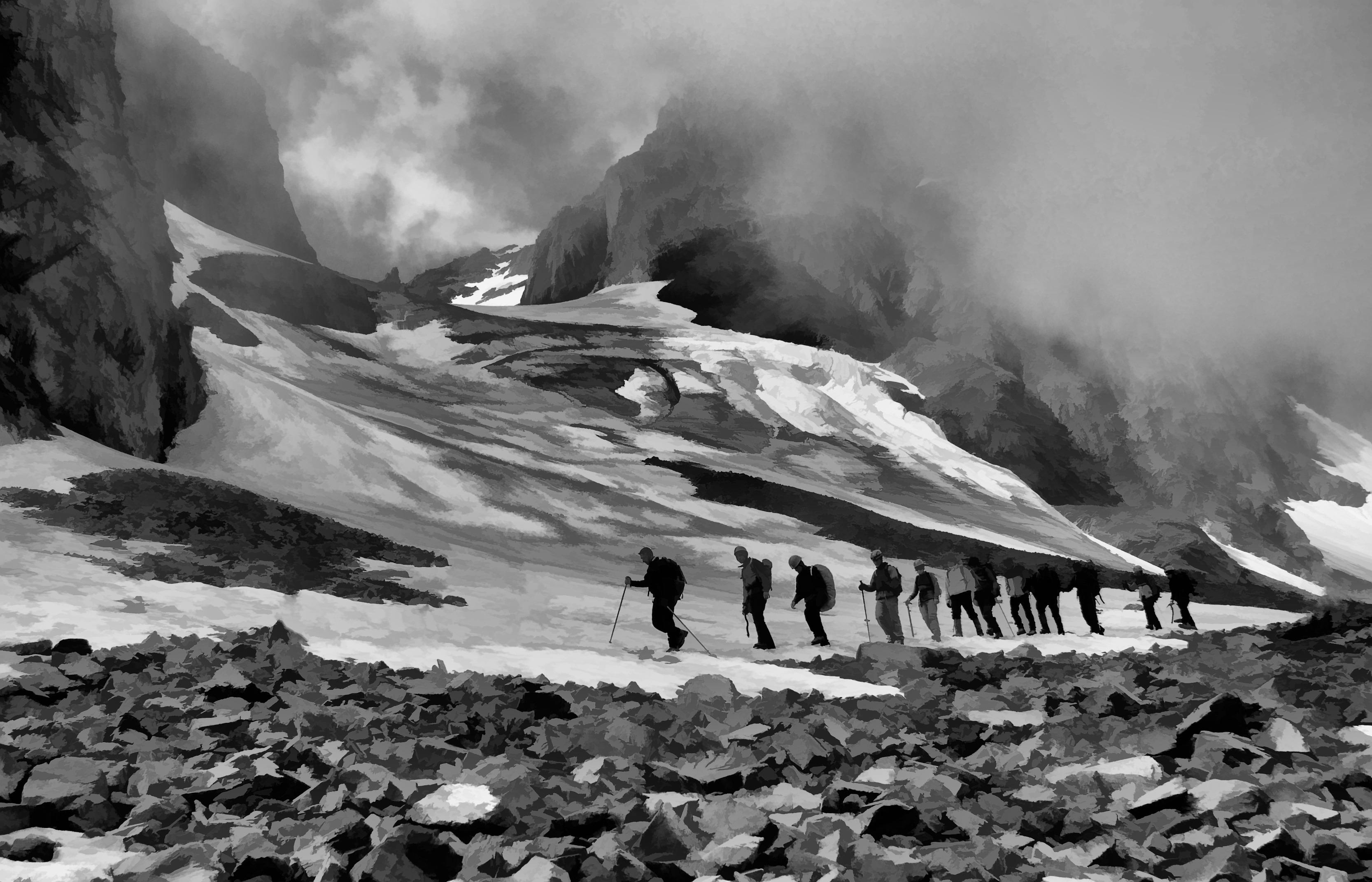 Gambar Pemandangan Batu Berjalan Salju Musim Dingin Awan