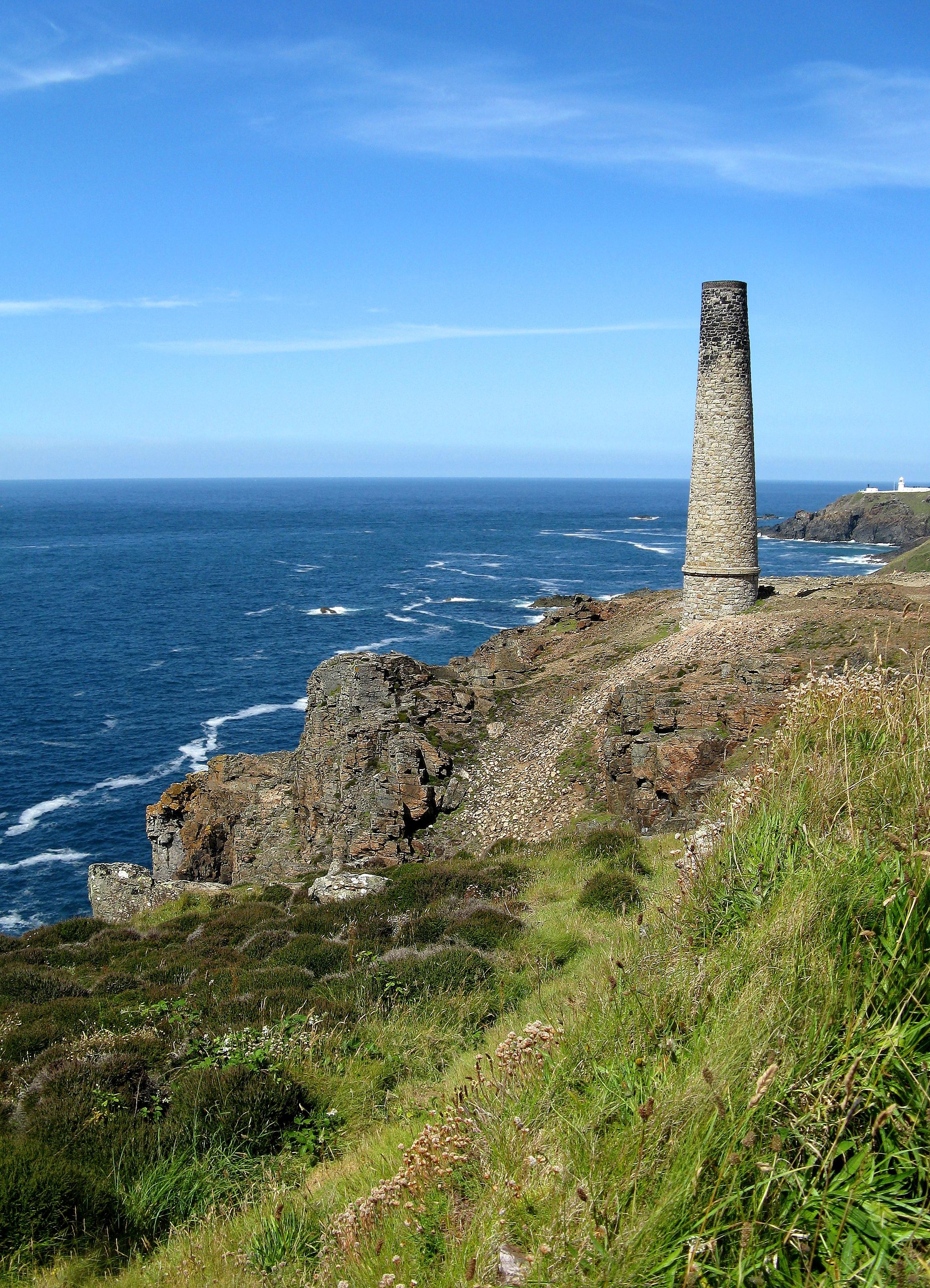 Landscape Sea Coast Rock Ocean Horizon Mountain Lighthouse Hill Cliff Tower Landmark Fortification Terrain Ruins Cornwall Cape Landform Geographical Feature Cornish Coast Tin Mine Near Geevor Tin Mine English Coastline