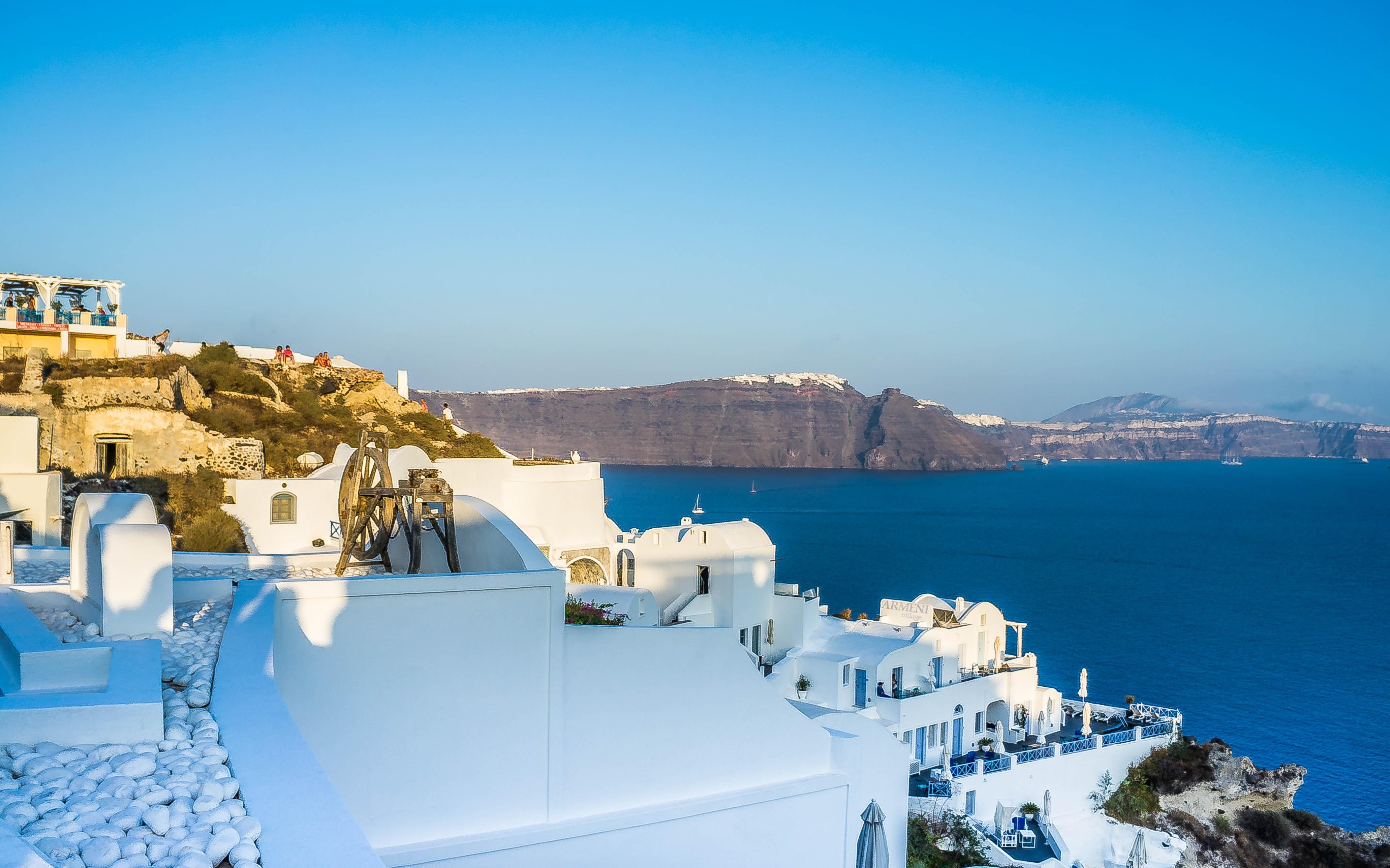 ver edificio verano vacaciones viajar europa griego mediterrneo vehculo fiesta isla romntico azul turismo santorini belleza grecia