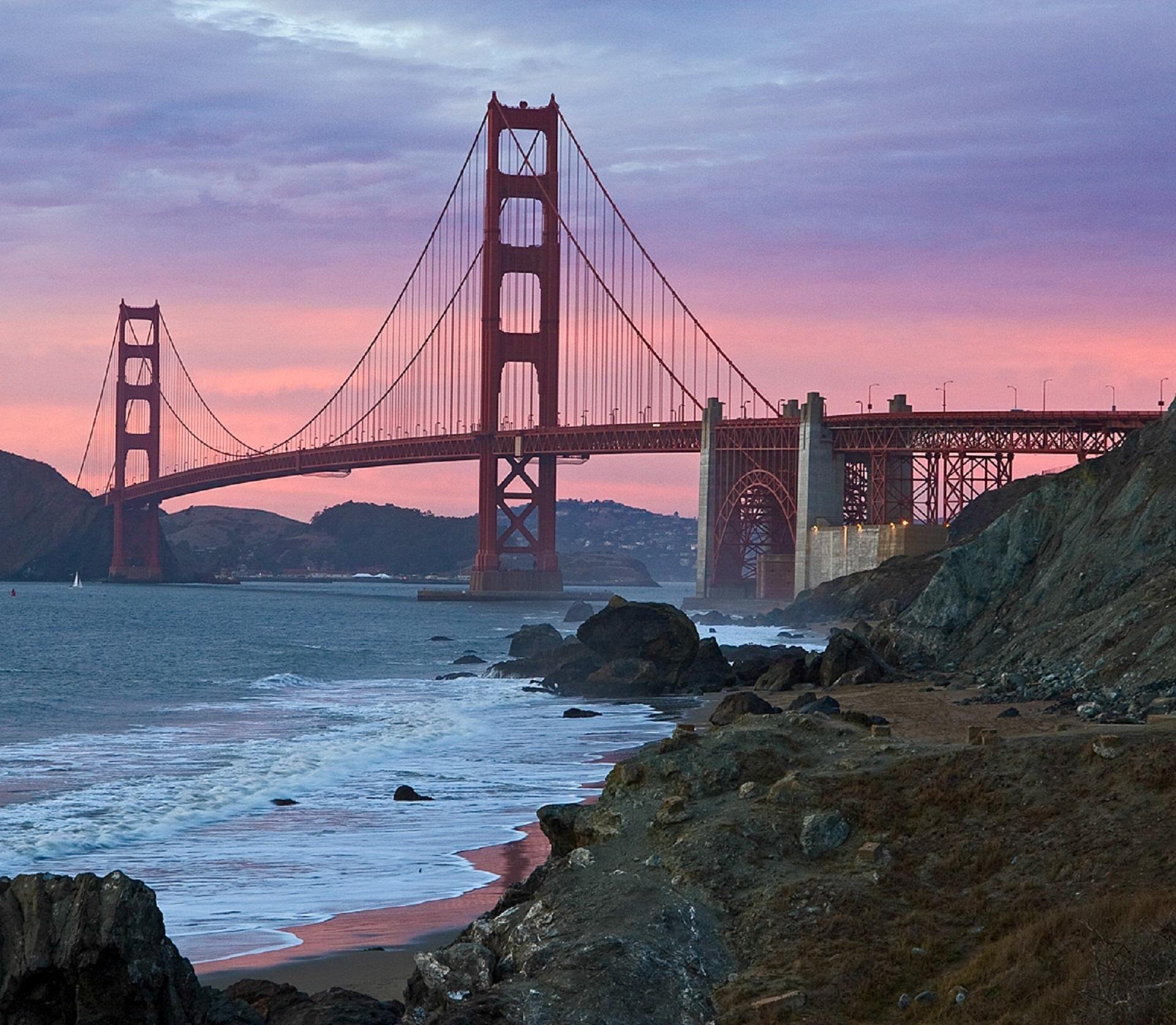Golden Gate Bridge San Francisco California Sunset Picture: Free Images : Landscape, Sea, Coast, Water, Ocean