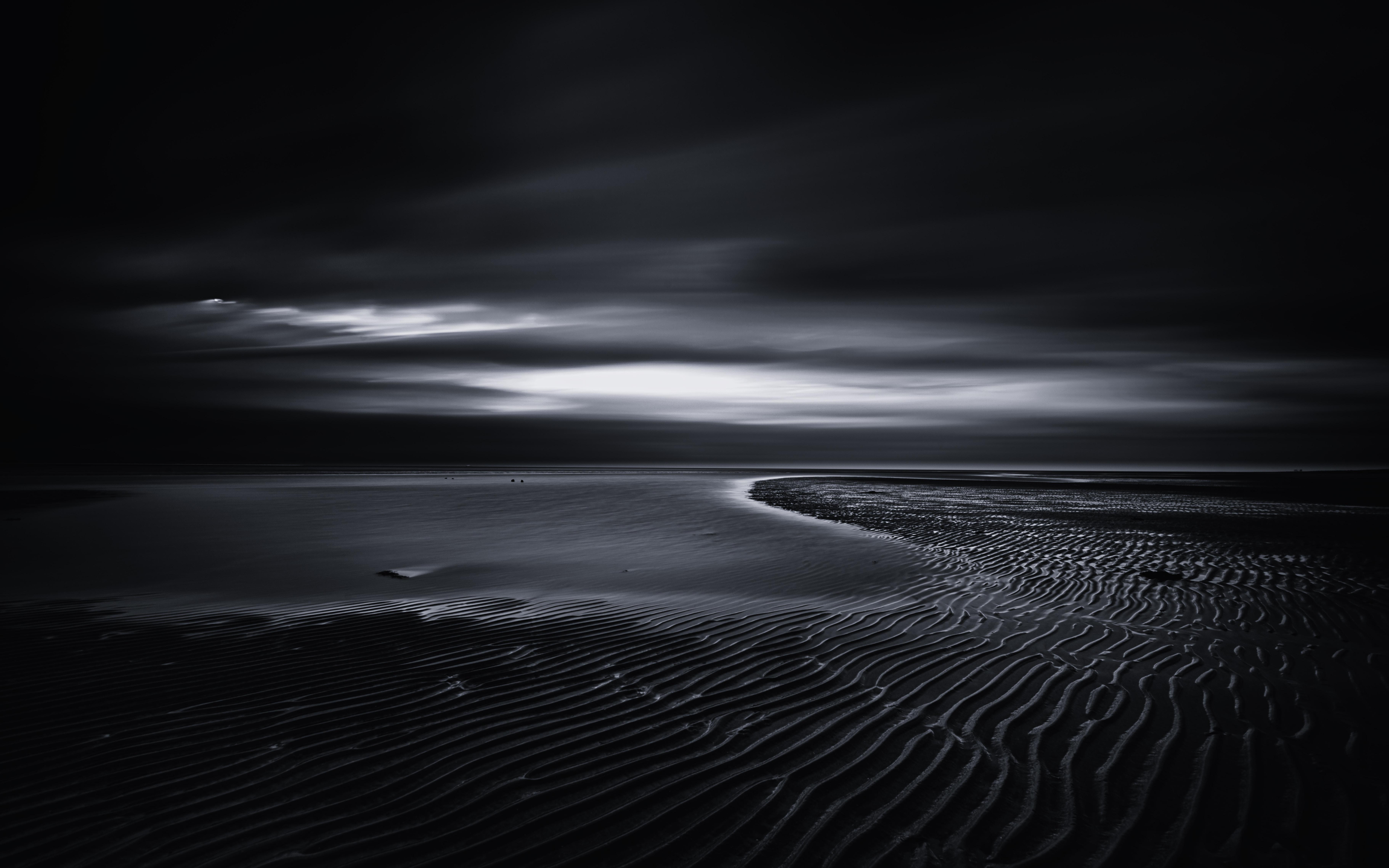 無料画像 風景 海 水 地平線 雲 黒と白 空 反射 落ち着いた
