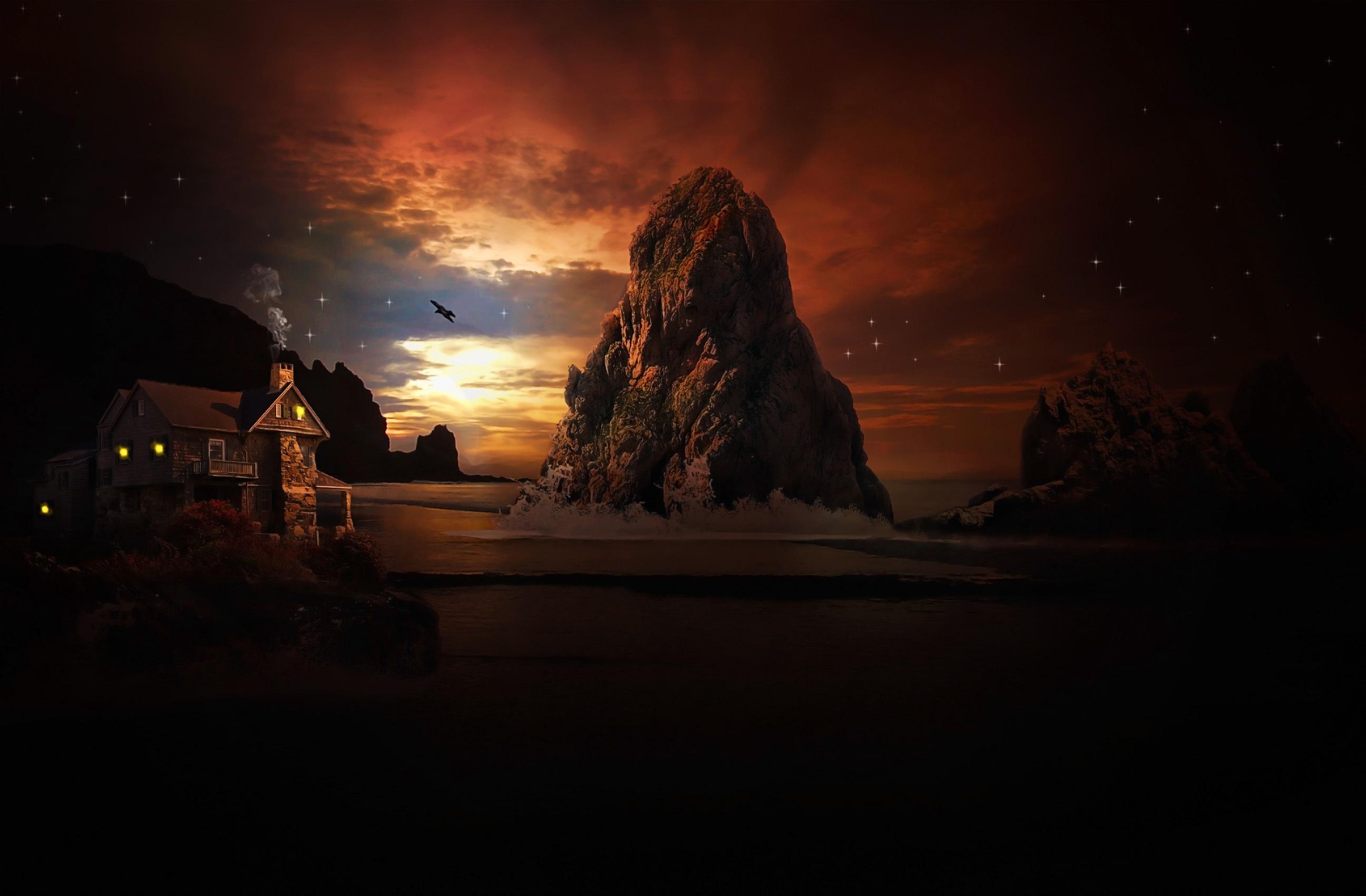 Fotoğraf Peyzaj Deniz Su Kaya ışık Gökyüzü Gün Batımı Gece