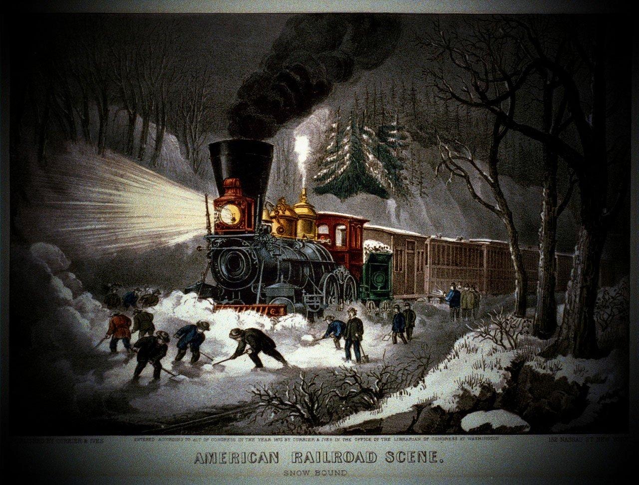 Fotoğraf Peyzaj Kar Bağbozumu Tren Hava Amerika Boyama