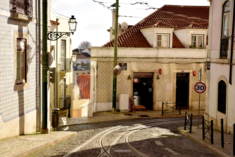Landscape Sun Road Street House Town Alley Home Downtown Tram Spring Facade  Infrastructure Lisbon Neighbourhood Urban