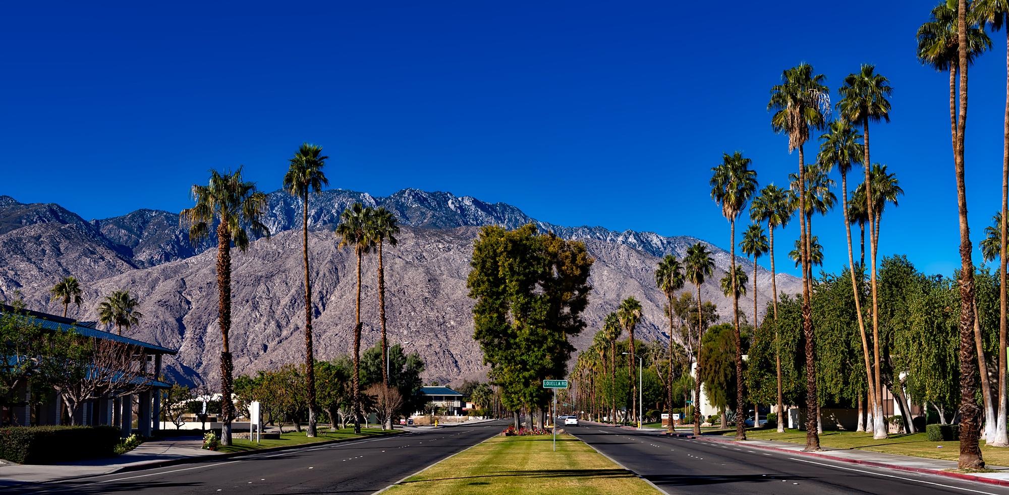 Weather Desert Hot Springs Ca >> Free Images : landscape, tree, road, street, desert, city, urban, mountain range, cityscape ...