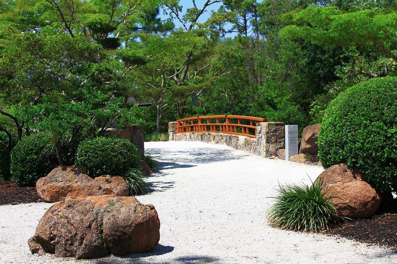 Landschaft Baum Natur Pfad Rock Brücke Rasen Zuhause Gehweg Pool Hinterhof  Botanik Garten Landschaftsbau Japanisch Botanischer