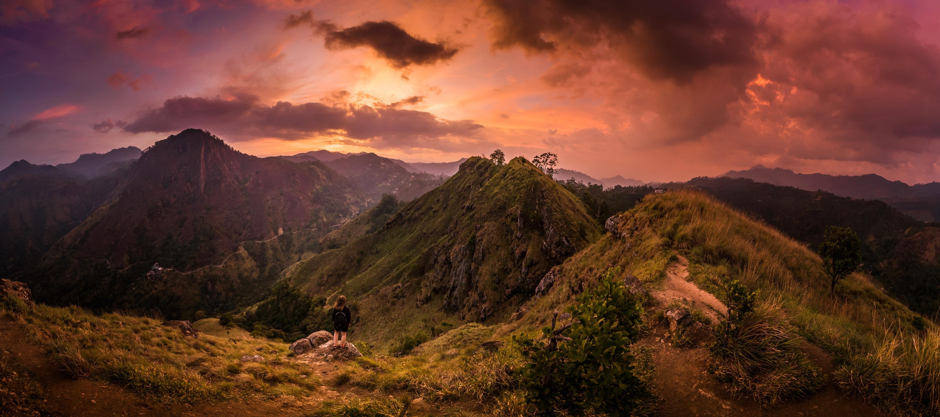 закат горы холмы sunset mountains hills скачать