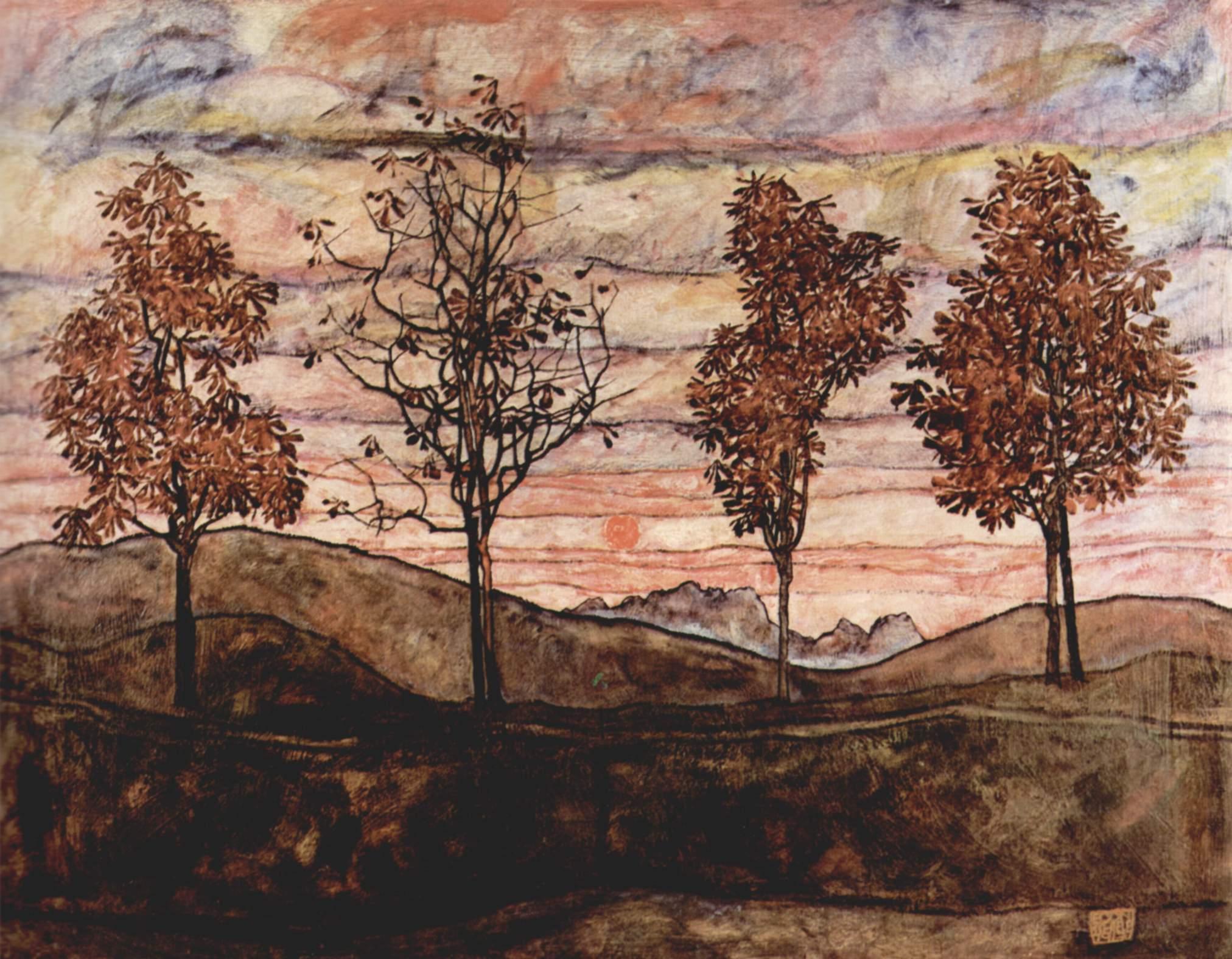 Jugendstil Malerei kostenlose foto landschaft baum mauer herbst material