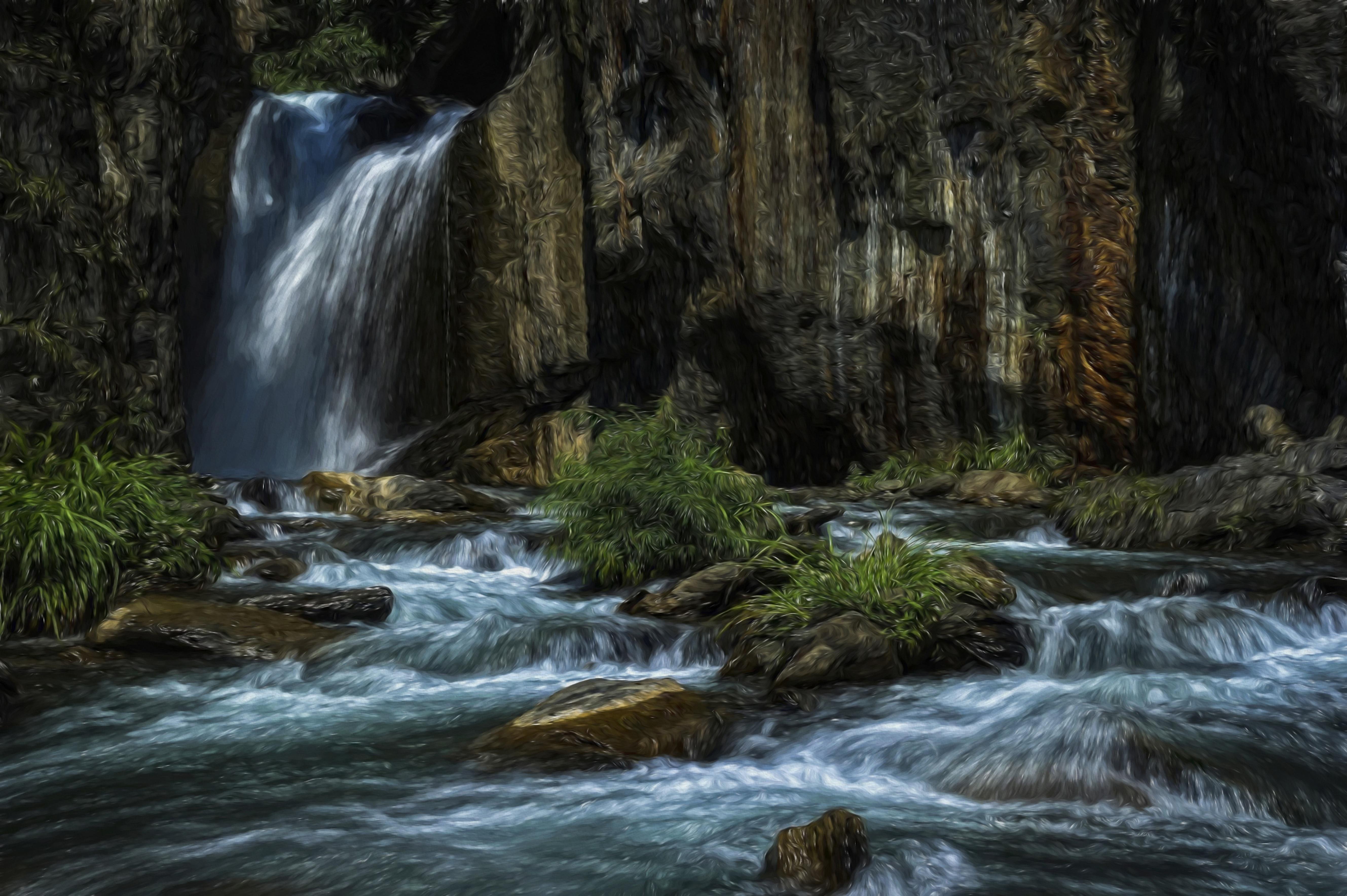 Gambar Pemandangan Alam Hutan Batu Air Terjun Sungai Kecil