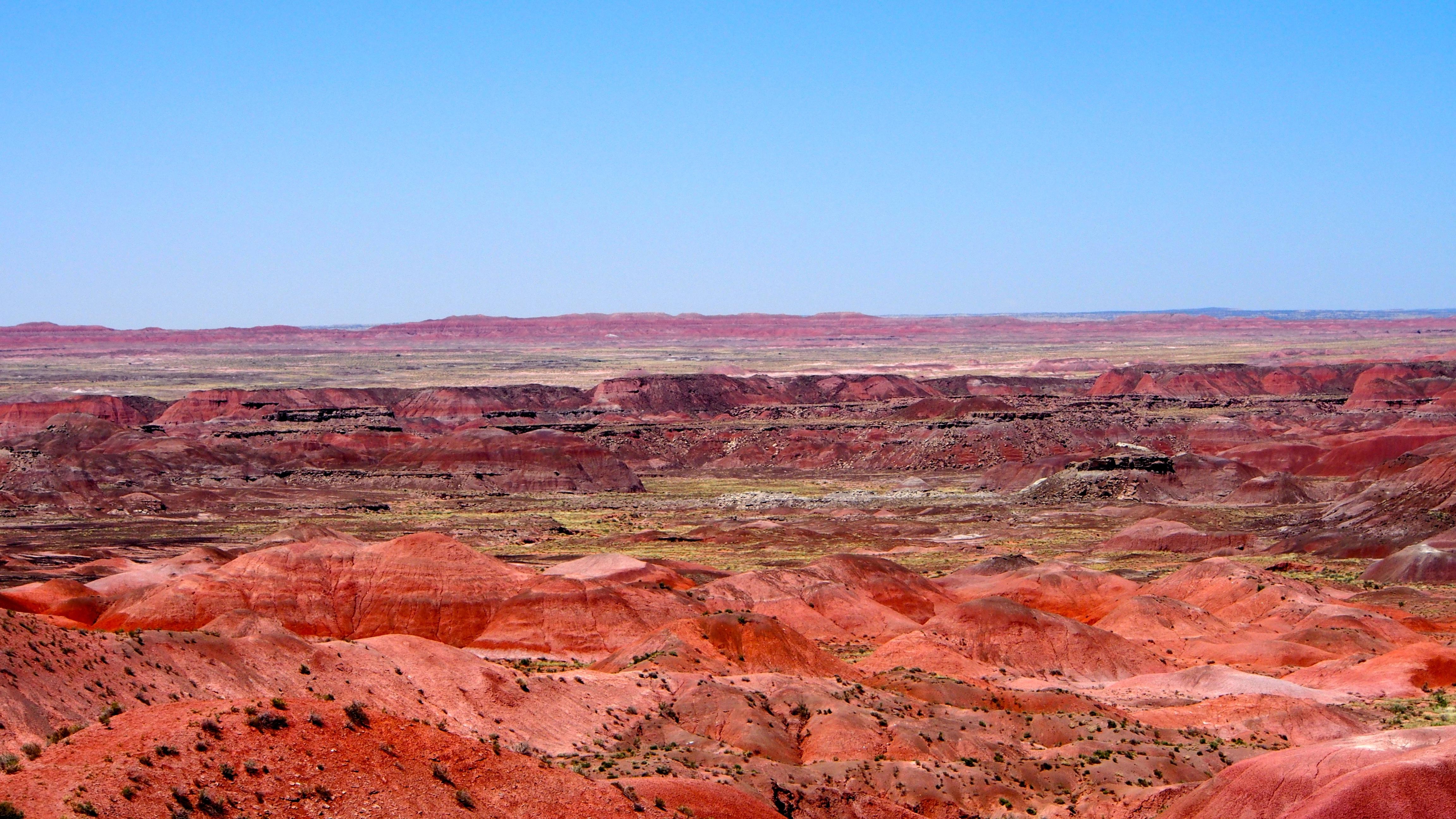 Landschaft Wildnis Bildung Landschaft Amerika Boden Schlucht Ebene Arizona  Geologie Ödland Plateau Gemalt Südwesten Wadi Butte