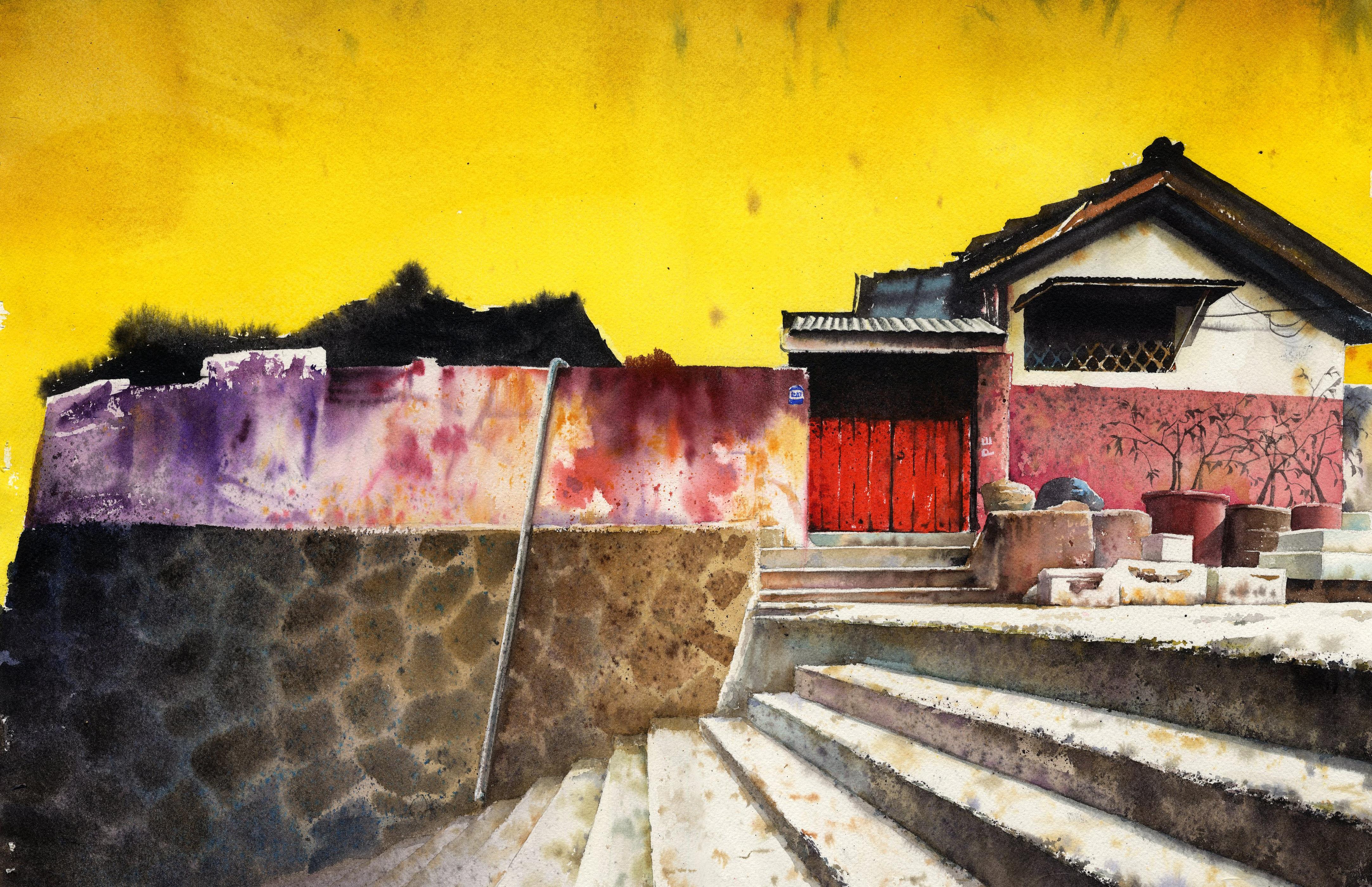 Gambar Pemandangan Kayu Rumah Dinding Mengangkut Warna Musim