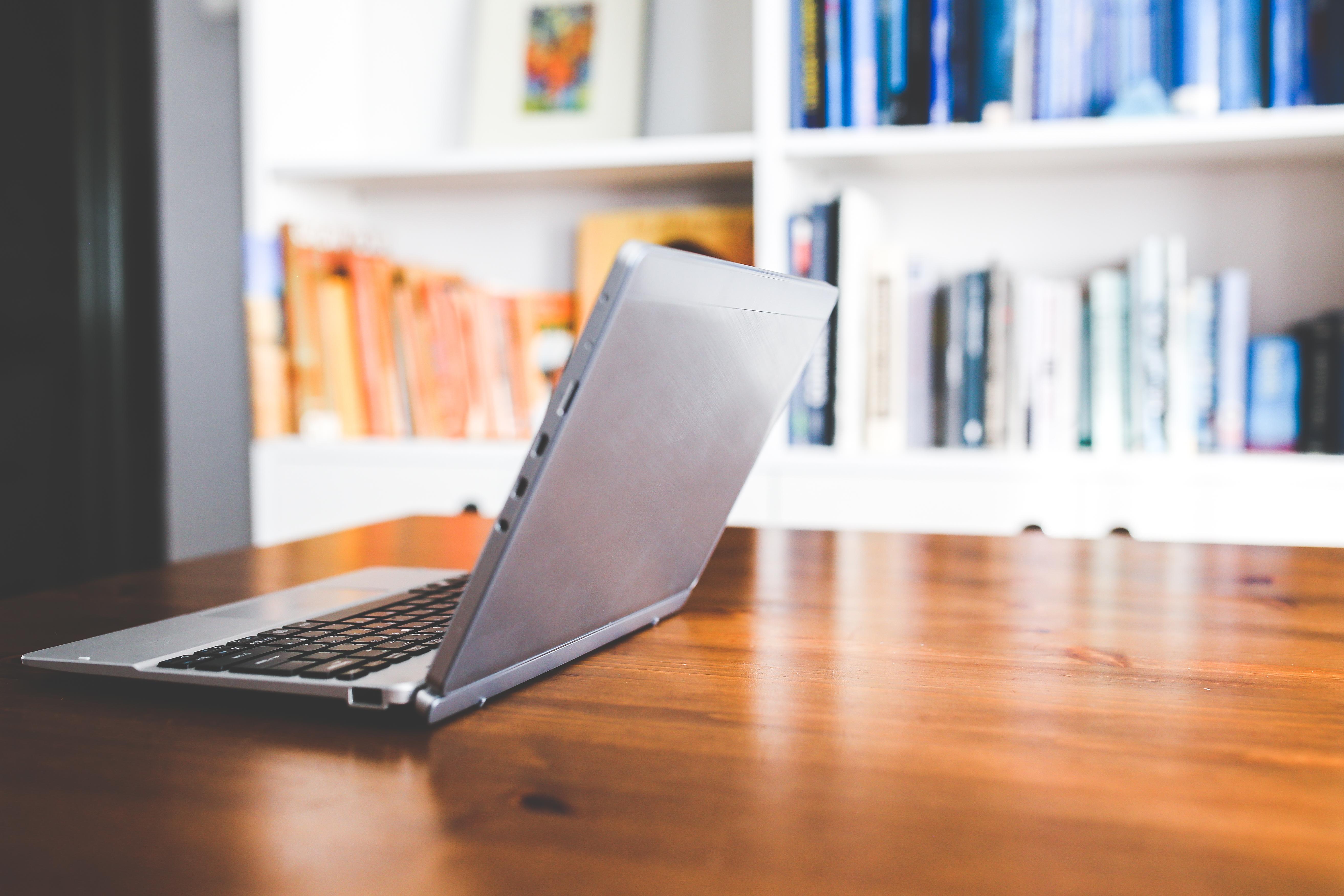 Laptop Desk Computer Table Technology Floor Home Office Shelf Furniture Room Interior Design