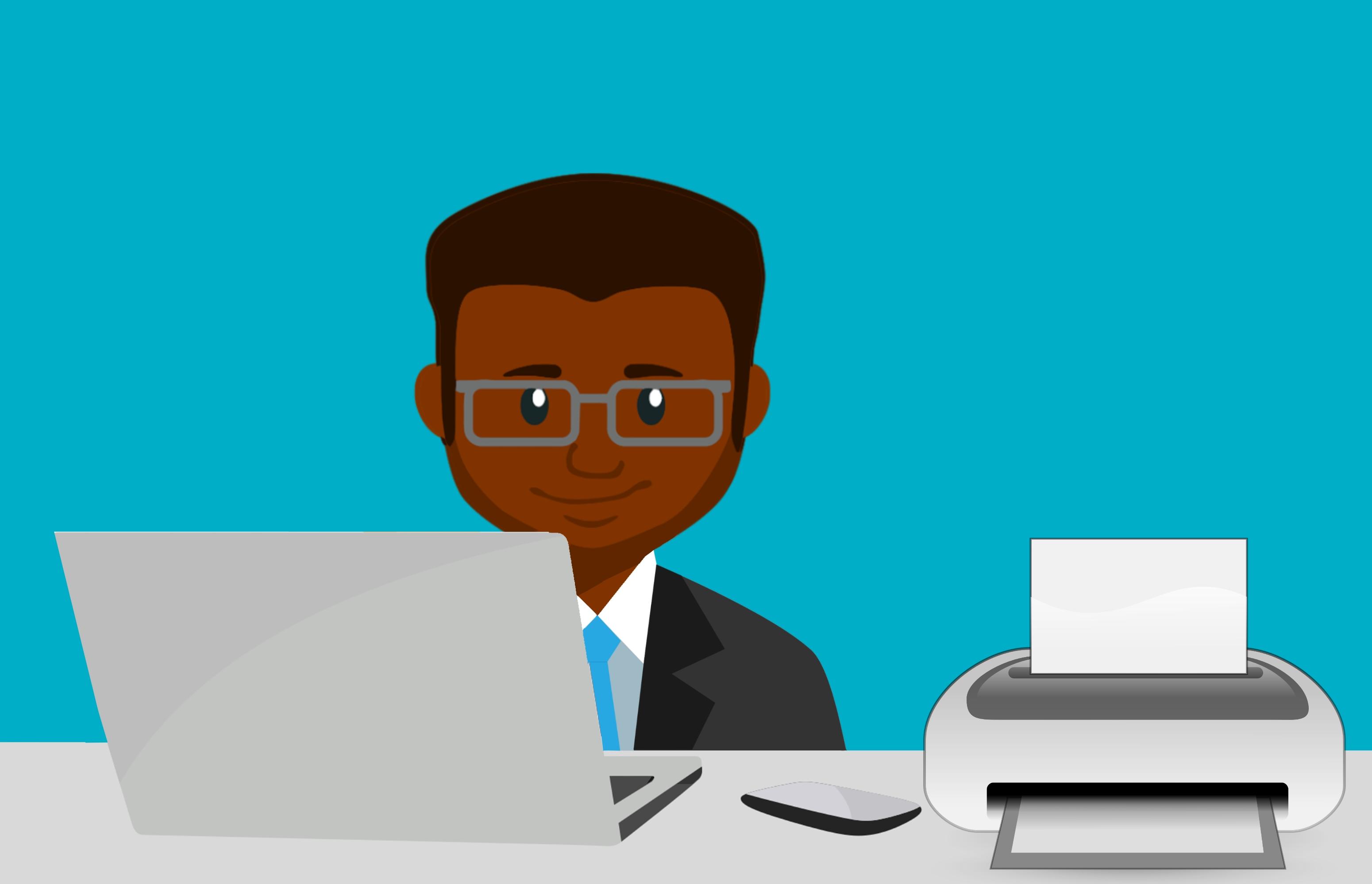 Gambar Laptop Karyawan Tempat Kerja Laki Laki Pencetak