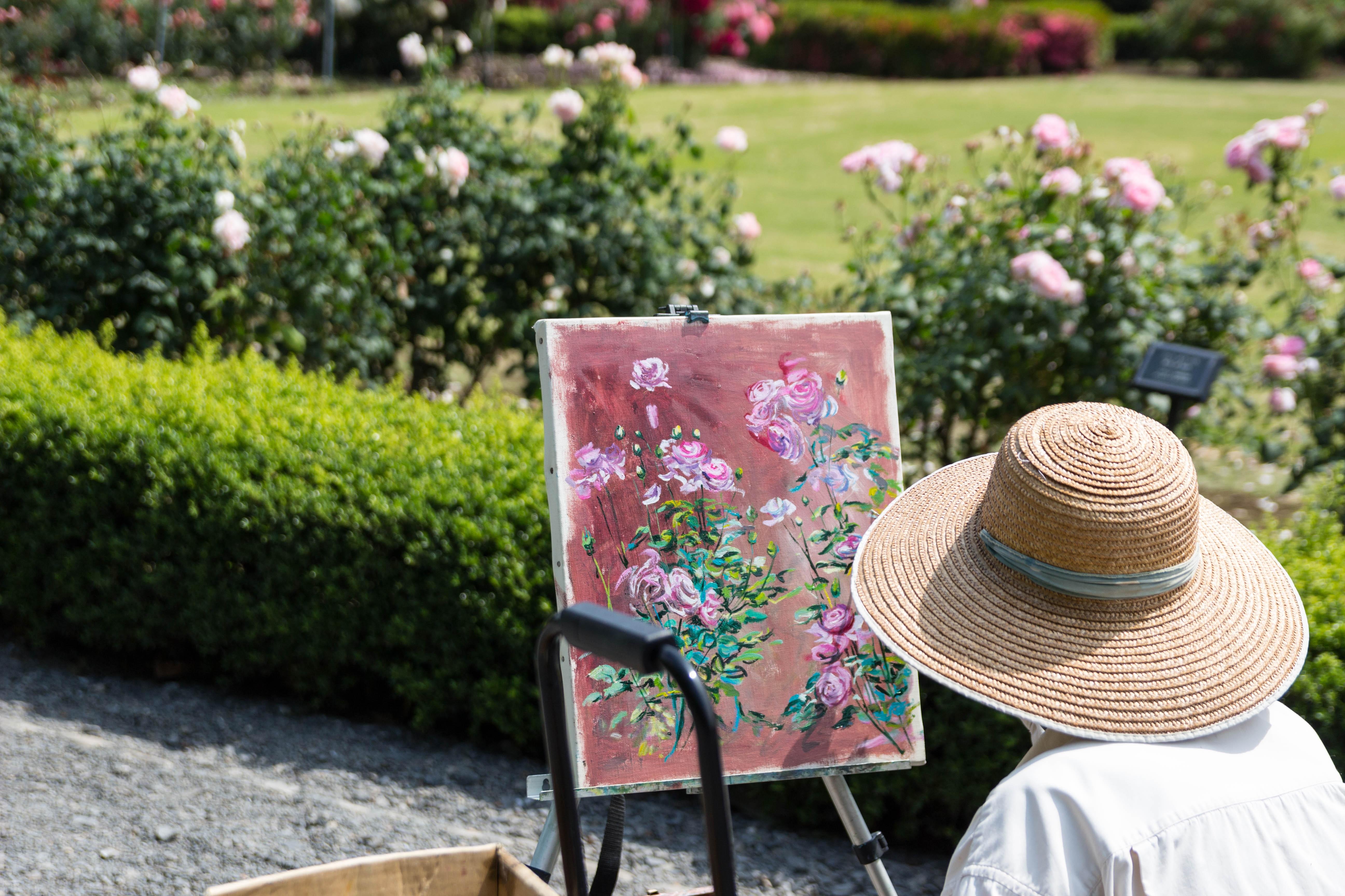 Bãi Cỏ Hoa Hoa Bông Hồng Mùa Xuân Vườn Tác Phẩm Nghệ Thuật Bức Vẽ Nghệ