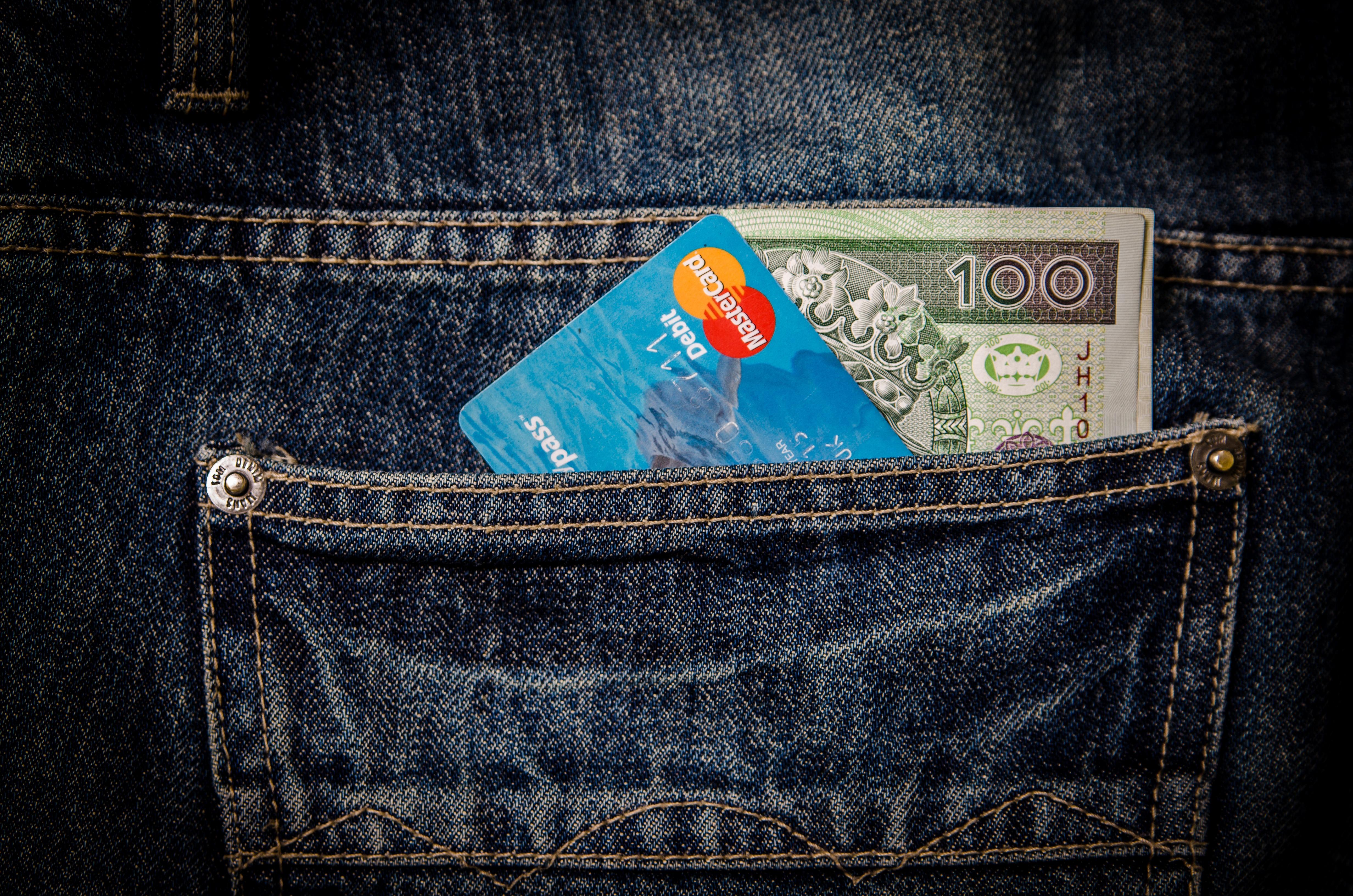 kulit uang tas biru bisnis perbelanjaan denim tas tangan kartu dompet merek tekstil membeli saku Visa