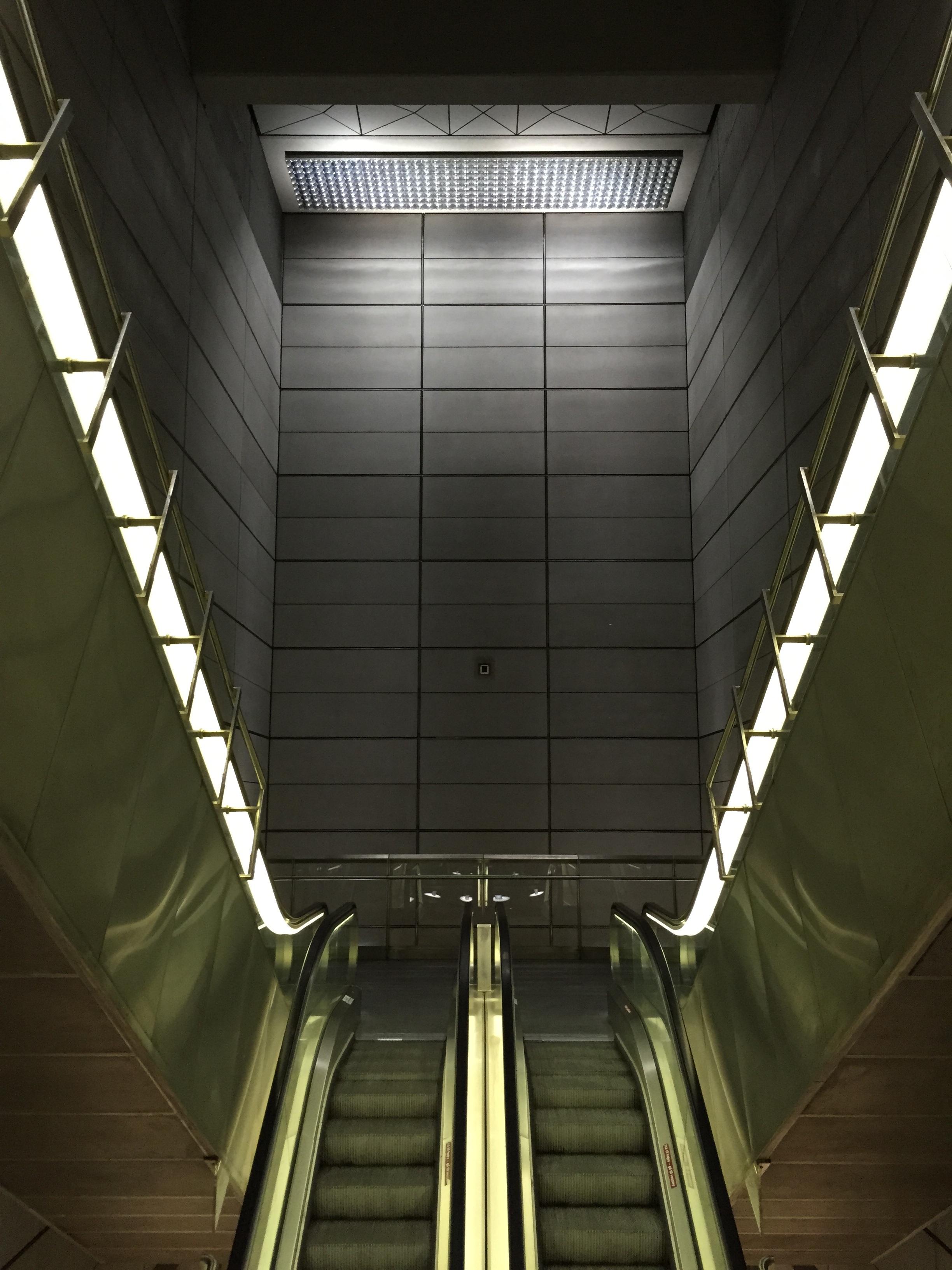 Light Architecture Atmosphere Staircase Escalator Subway Metro Hall Metal  Darkness Lighting Public Transport Interior Design Stairs