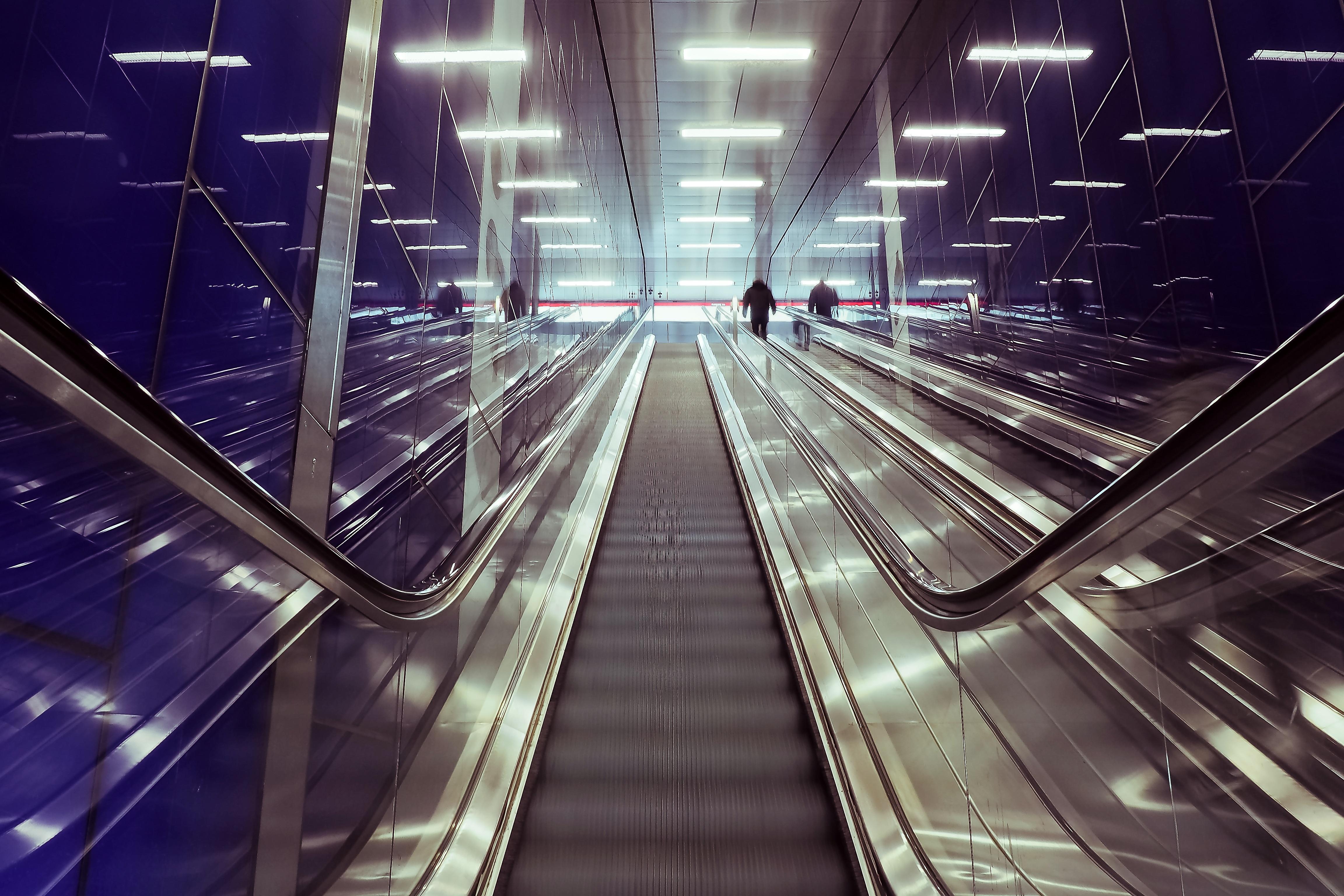 Free Images Light Architecture Urban Escalator Subway Underground Construction Line Metal Darkness Blue Modern Metro Station Trainstation