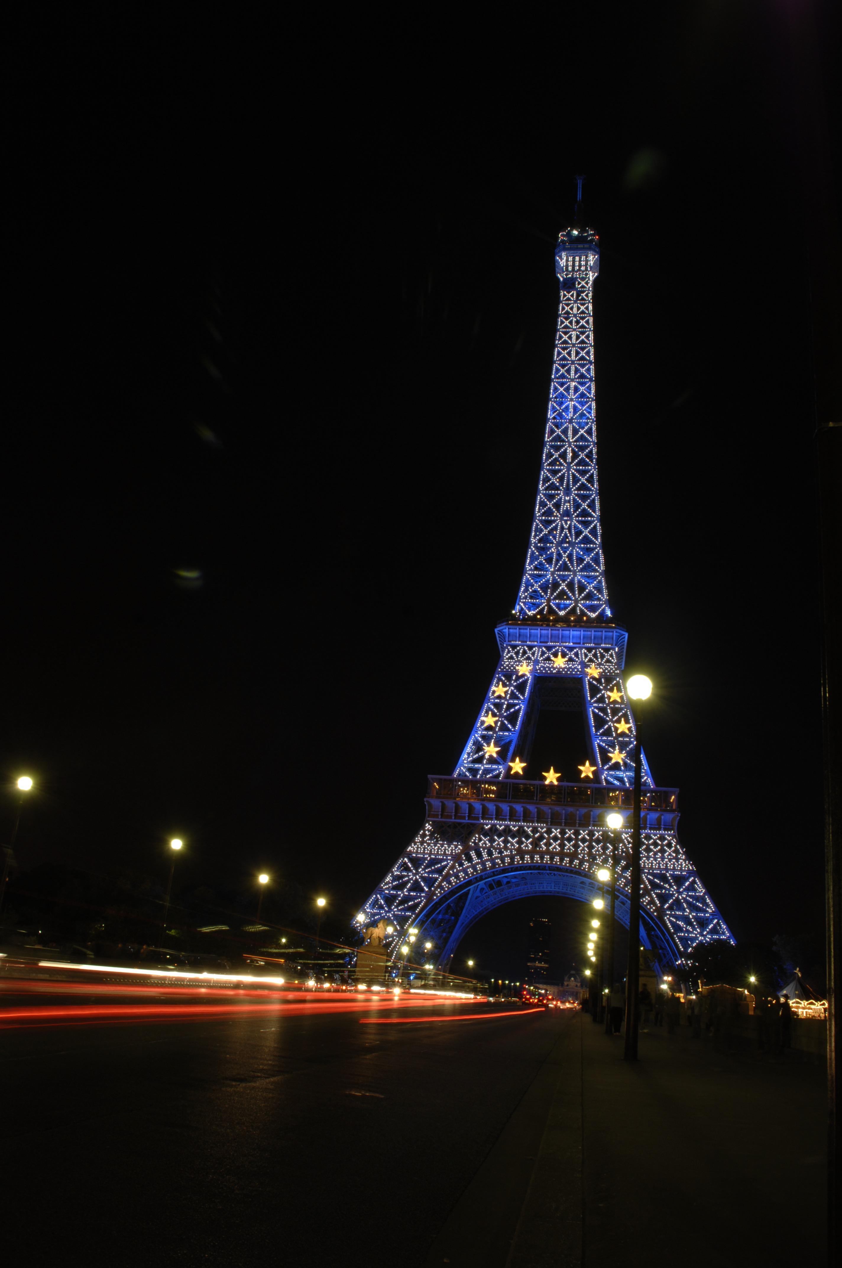 Light Architecture Night Eiffel Tower Paris Evening Landmark Darkness Christmas Lighting Tree Decoration