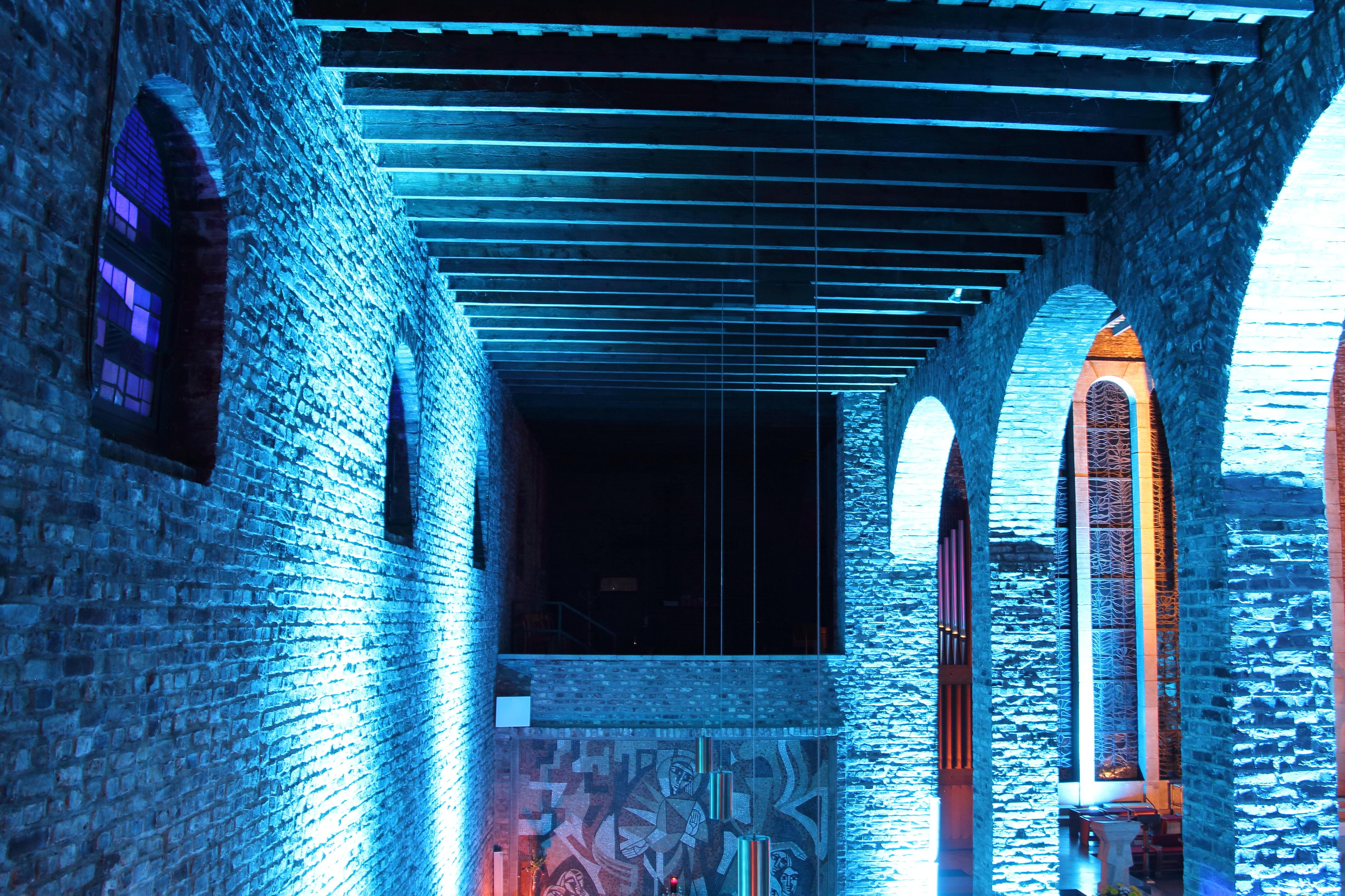 High Quality Licht Die Architektur Struktur Innere Gebäude Wolkenkratzer Bogen Farbe  Fassade Blau Kirche Beleuchtung Decke Innenarchitektur Torbogen