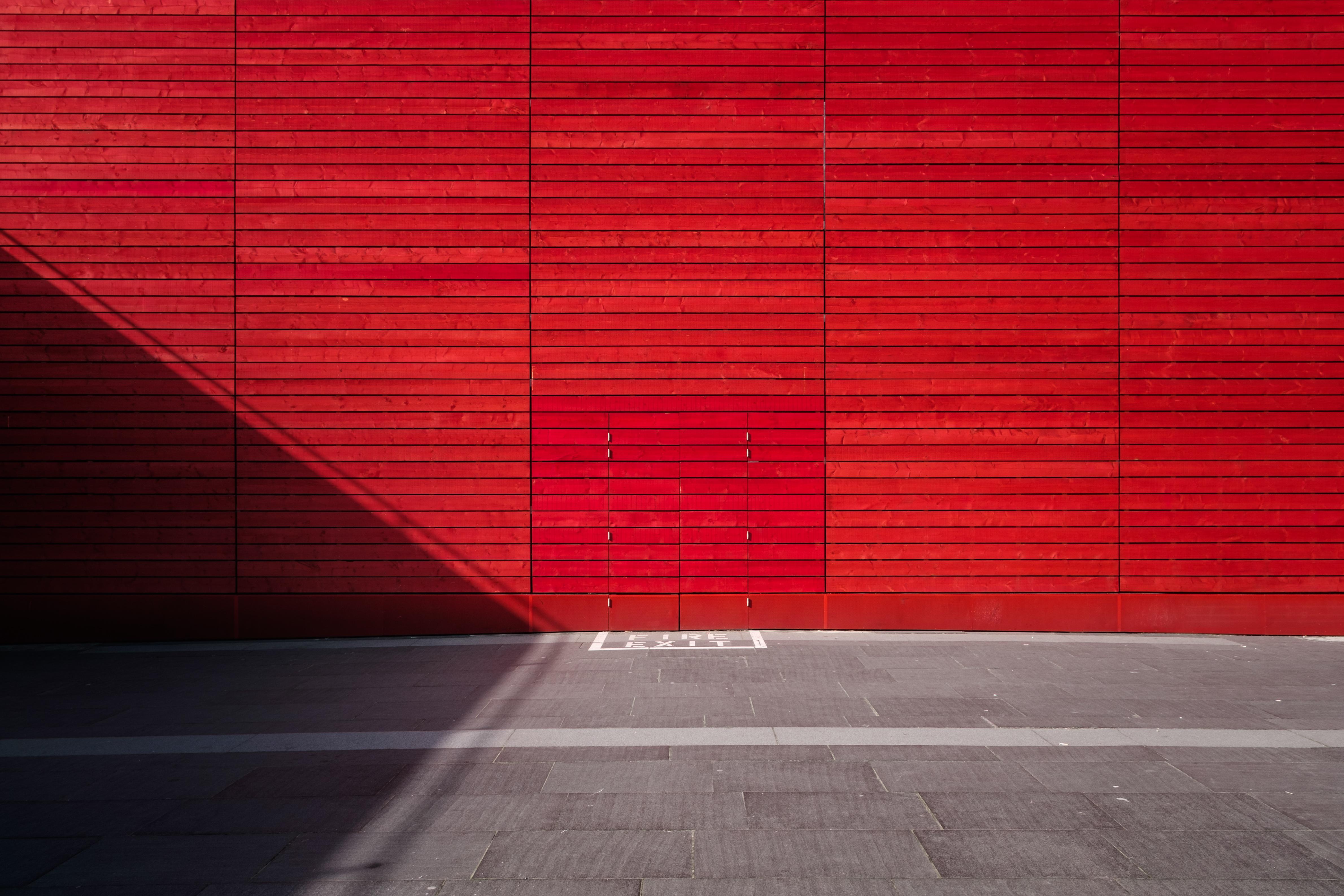 Light Architecture Wood Floor Wall Line Red Color Shadow Brick Lighting Interior Design Symmetry Window