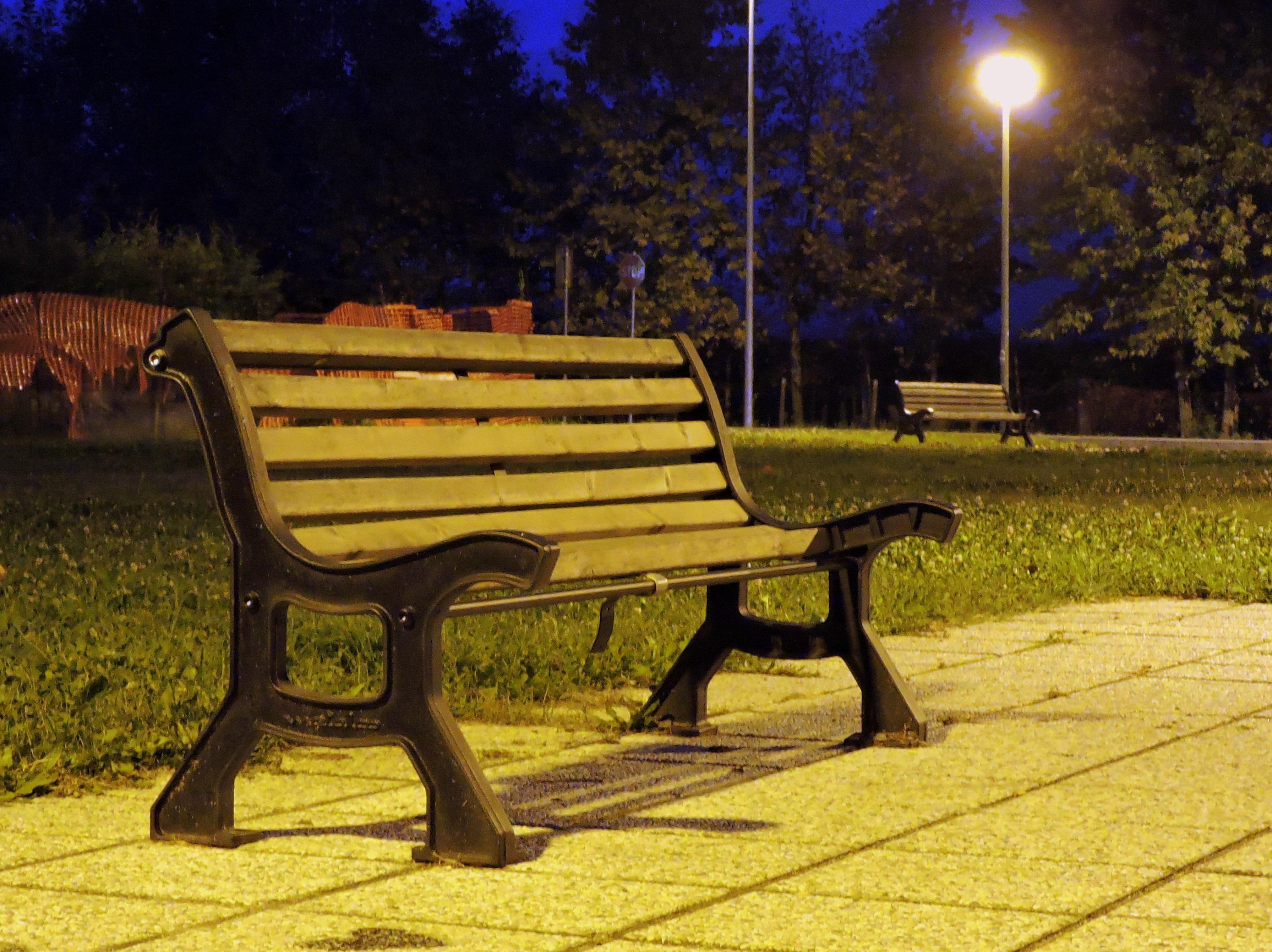 Fotos Gratis Ligero Banco Noche Soledad Parque Mueble  # Muebles Soledad