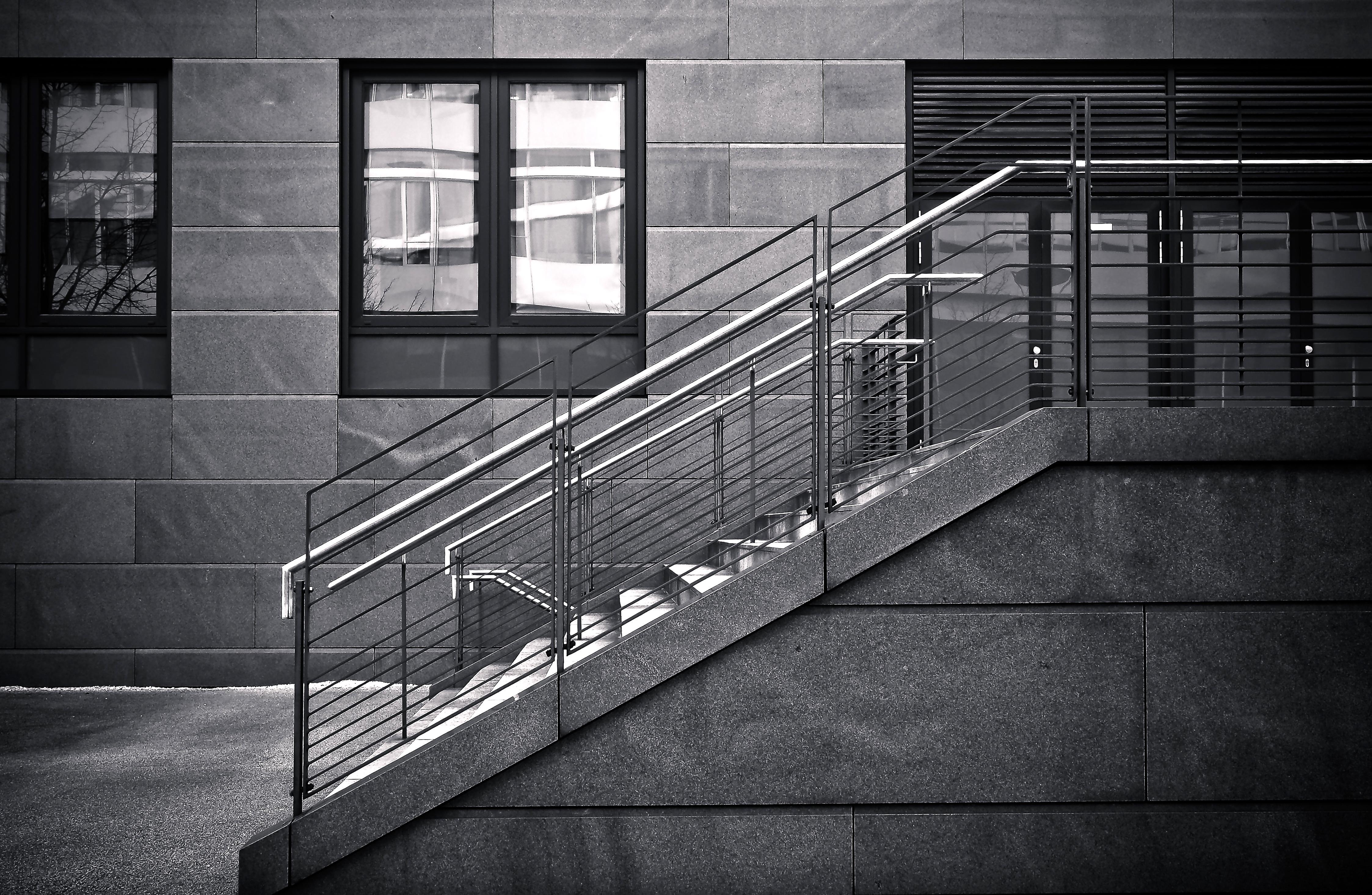 Construction Line Geometric Shadow Facade Darkness Modern Black White Concrete Interior Design Stairs Symmetry Gloomy Mood Shape Big City