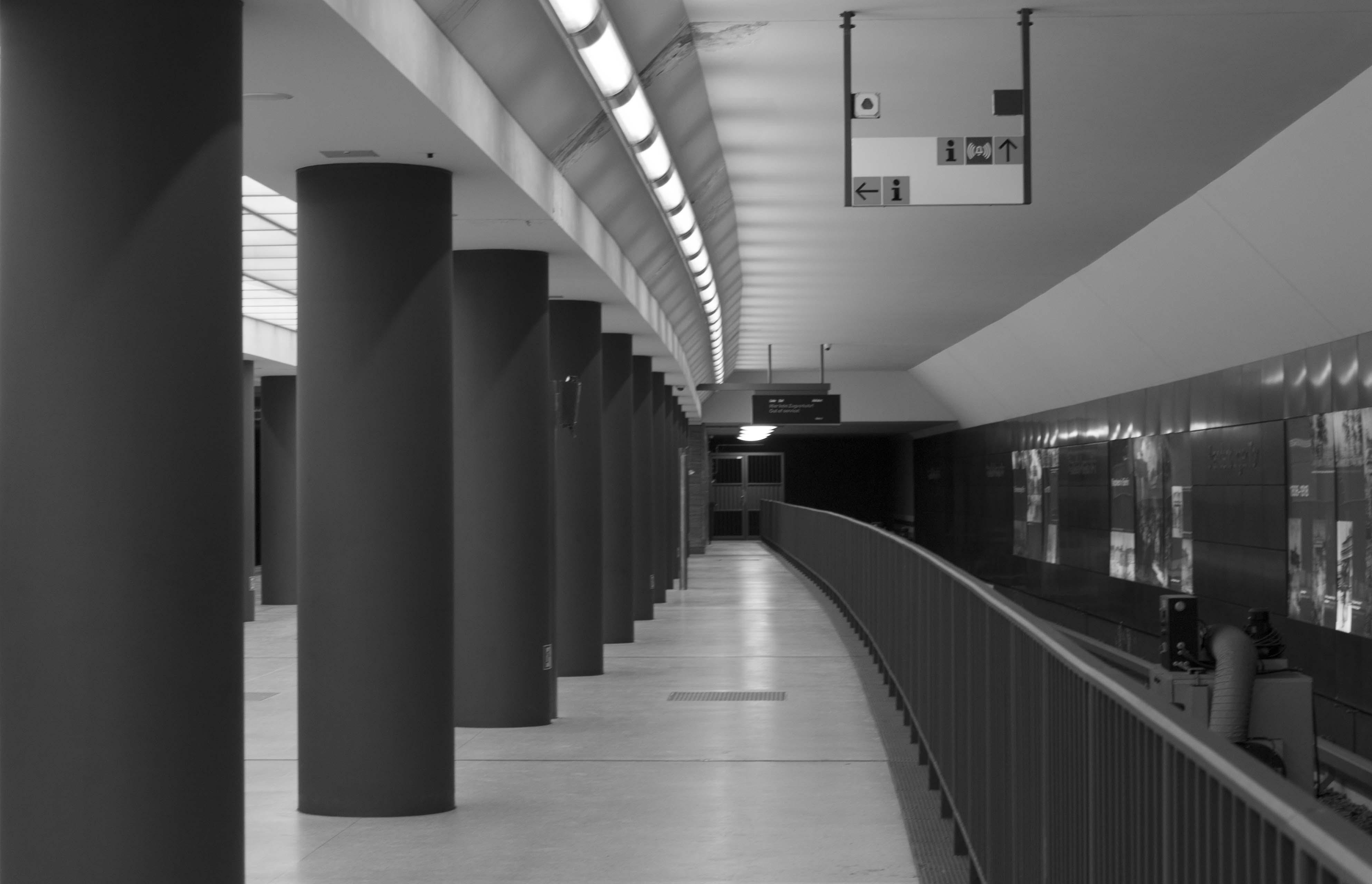 Light Black And White Architecture Perspective Subway Metro Transport Line Hall Monochrome Public