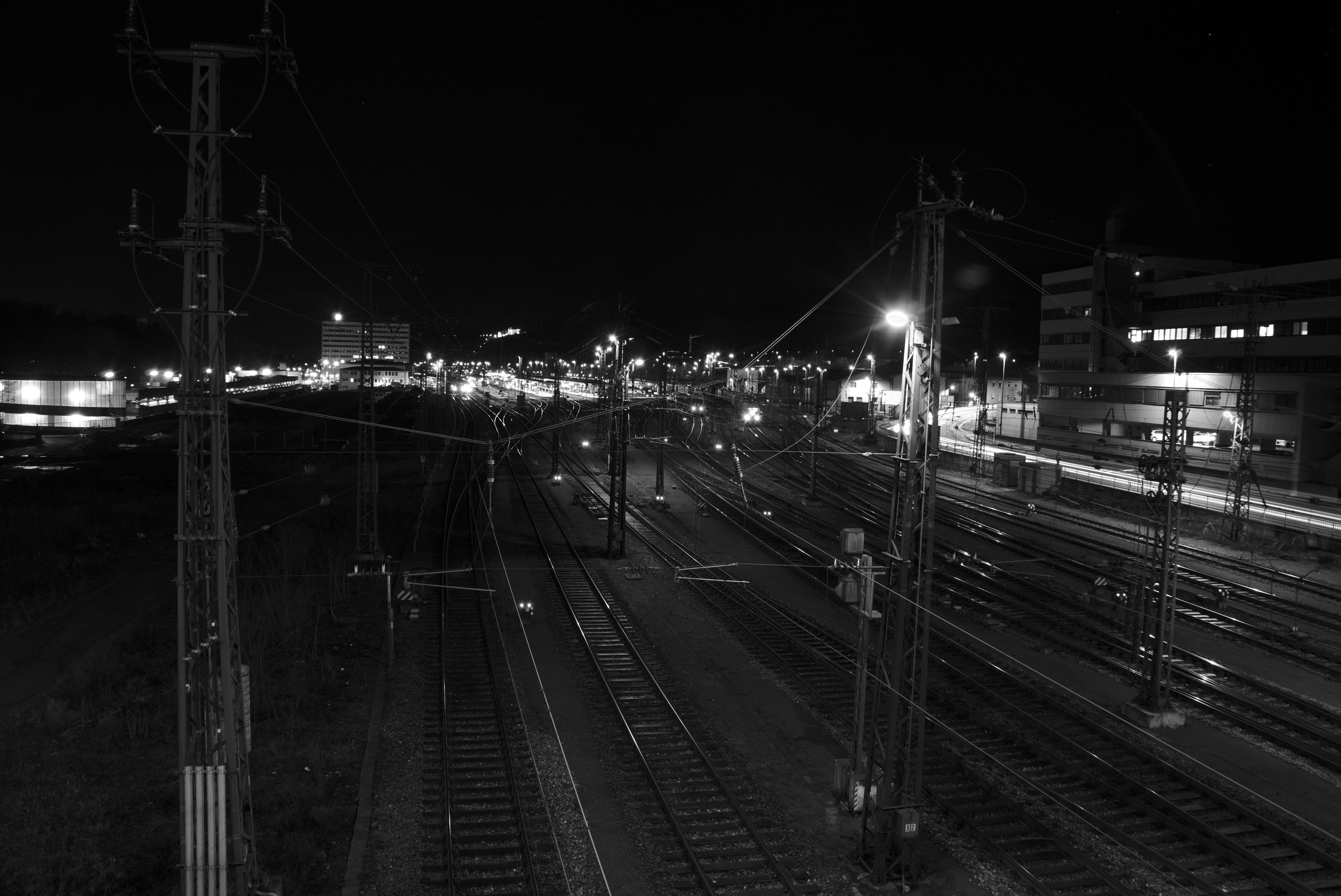 light black and white railway bridge night cityscape evening line darkness  street light black monochrome lighting