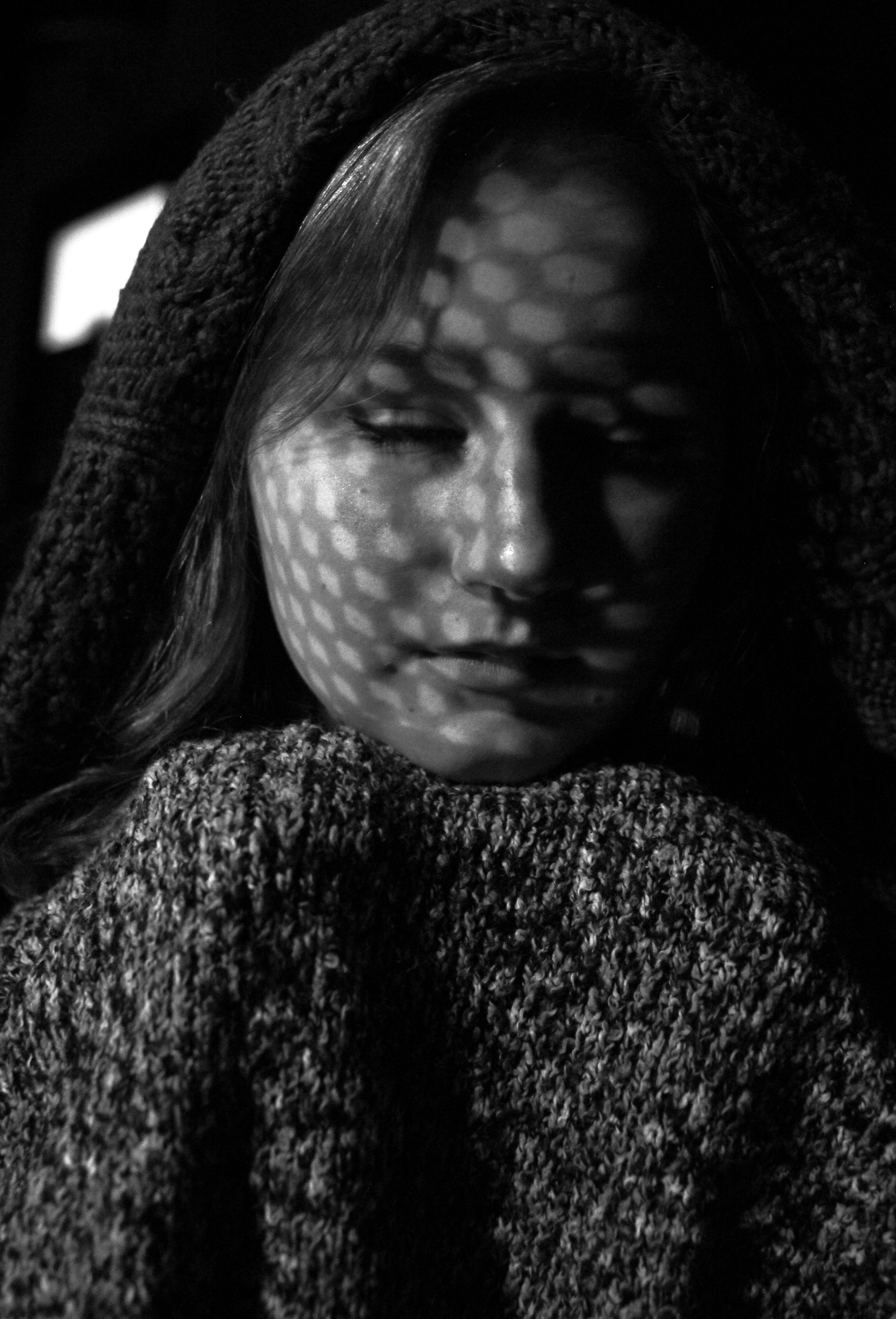 Light black and white white photography dark sadness portrait model shadow peace darkness black monochrome scarf