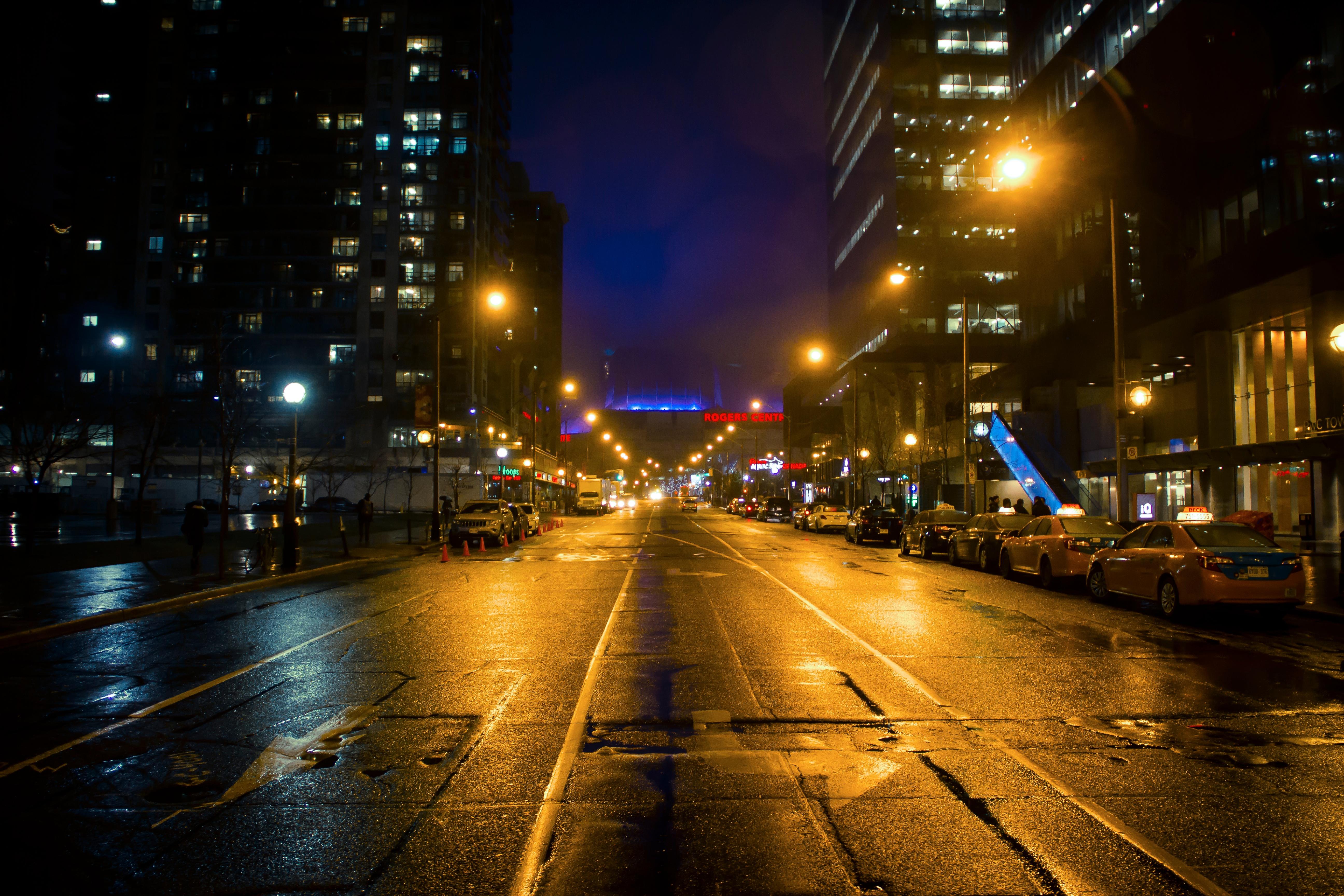 Gambar Cahaya Pemandangan Kota Senja Refleksi Kegelapan Lampu